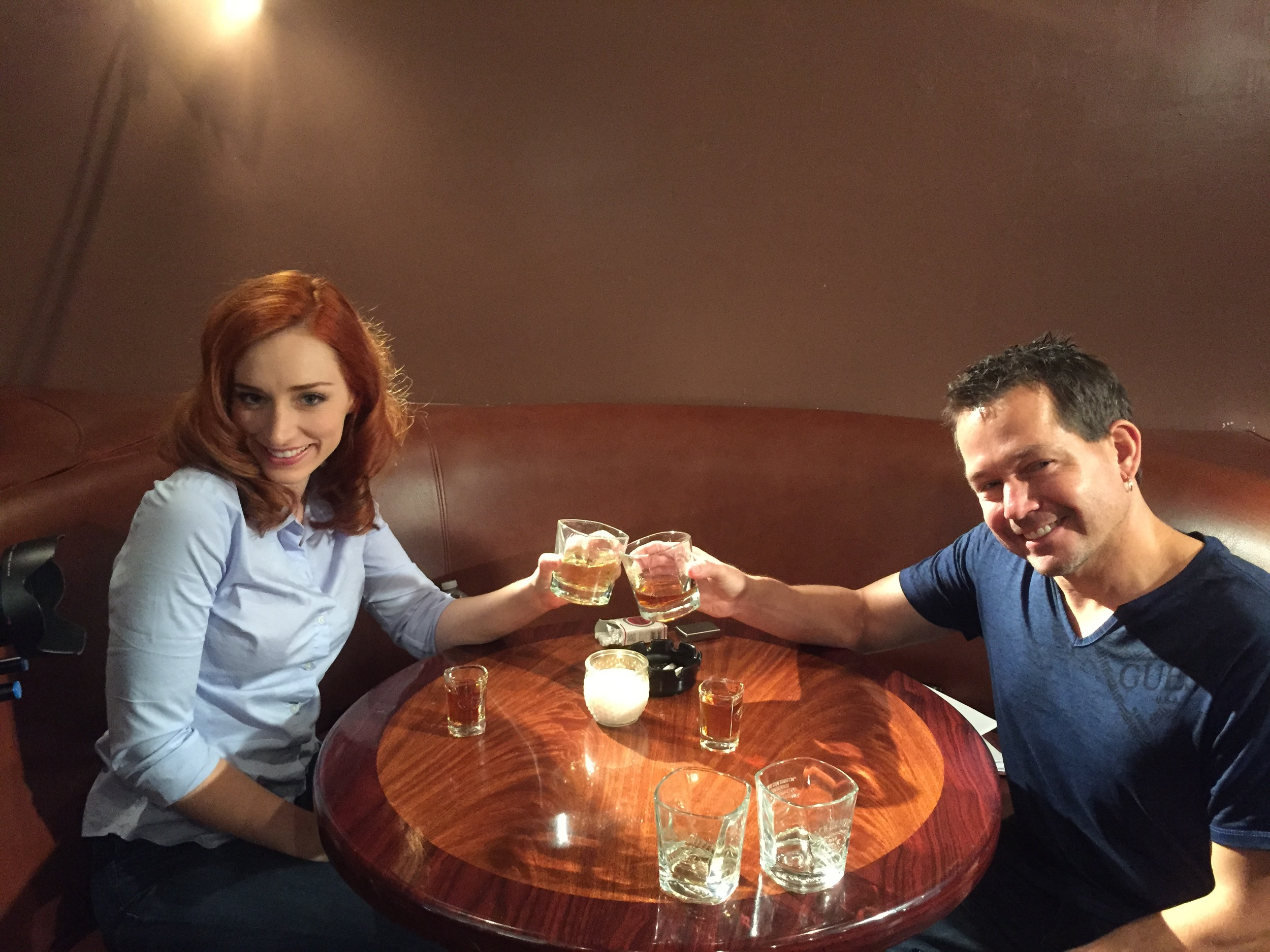 Lead Actress Najarra Townsend takes a moment to toast the scene with Executive Producer/Writer Kevin Sluder.
