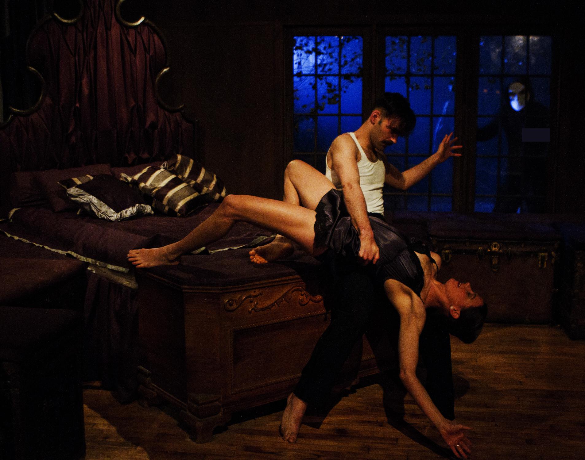(l-r) Nicholas Bruder as Macbeth and Sophie Bortolussi as Lady Macbeth with audience member ∏ Yaniv Schulman.jpg