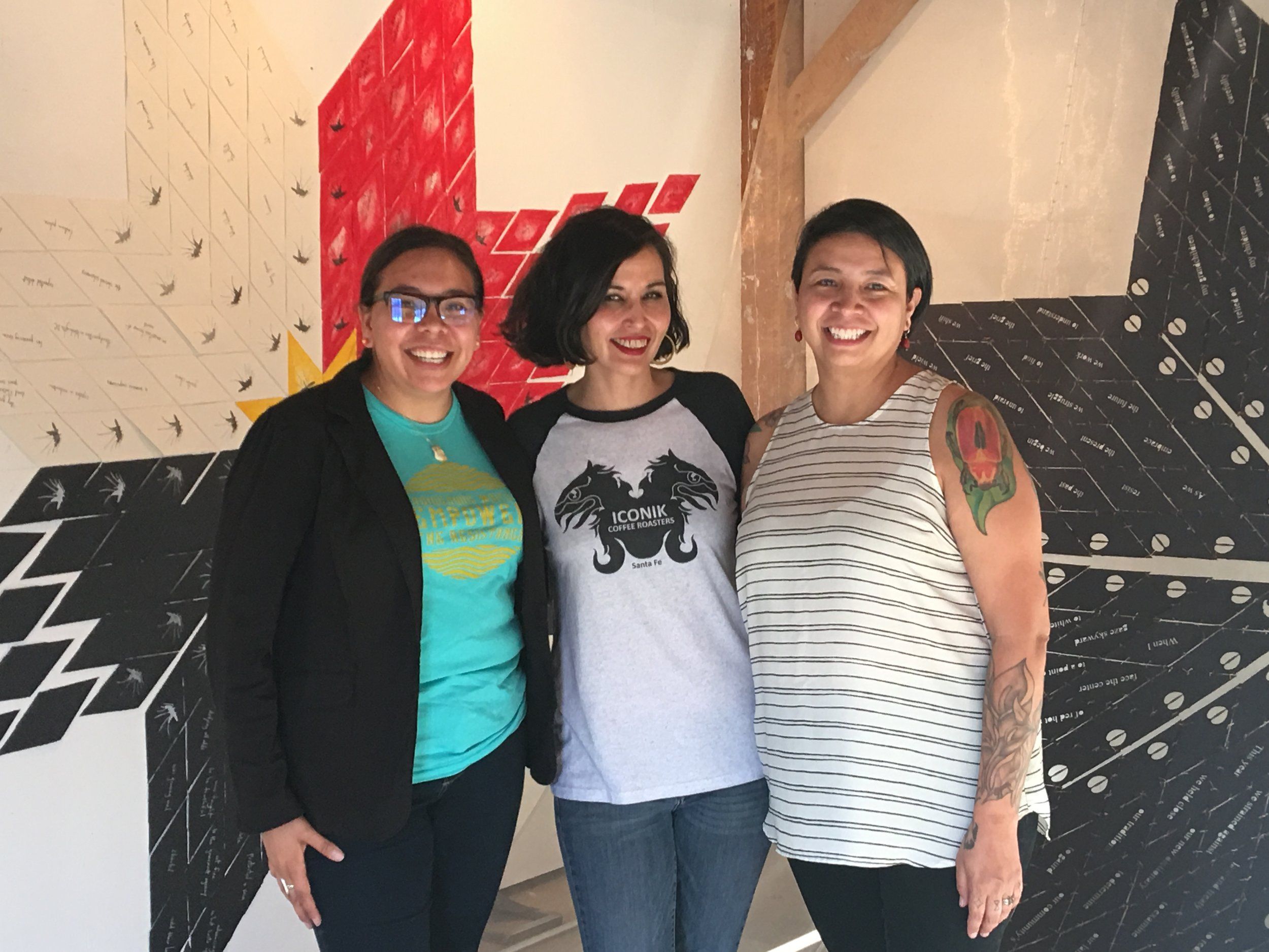 Curators of the Exhibition: (L to R) Clementine Bordeaux, Layli Long Soldier, and Mary V. Bordeaux