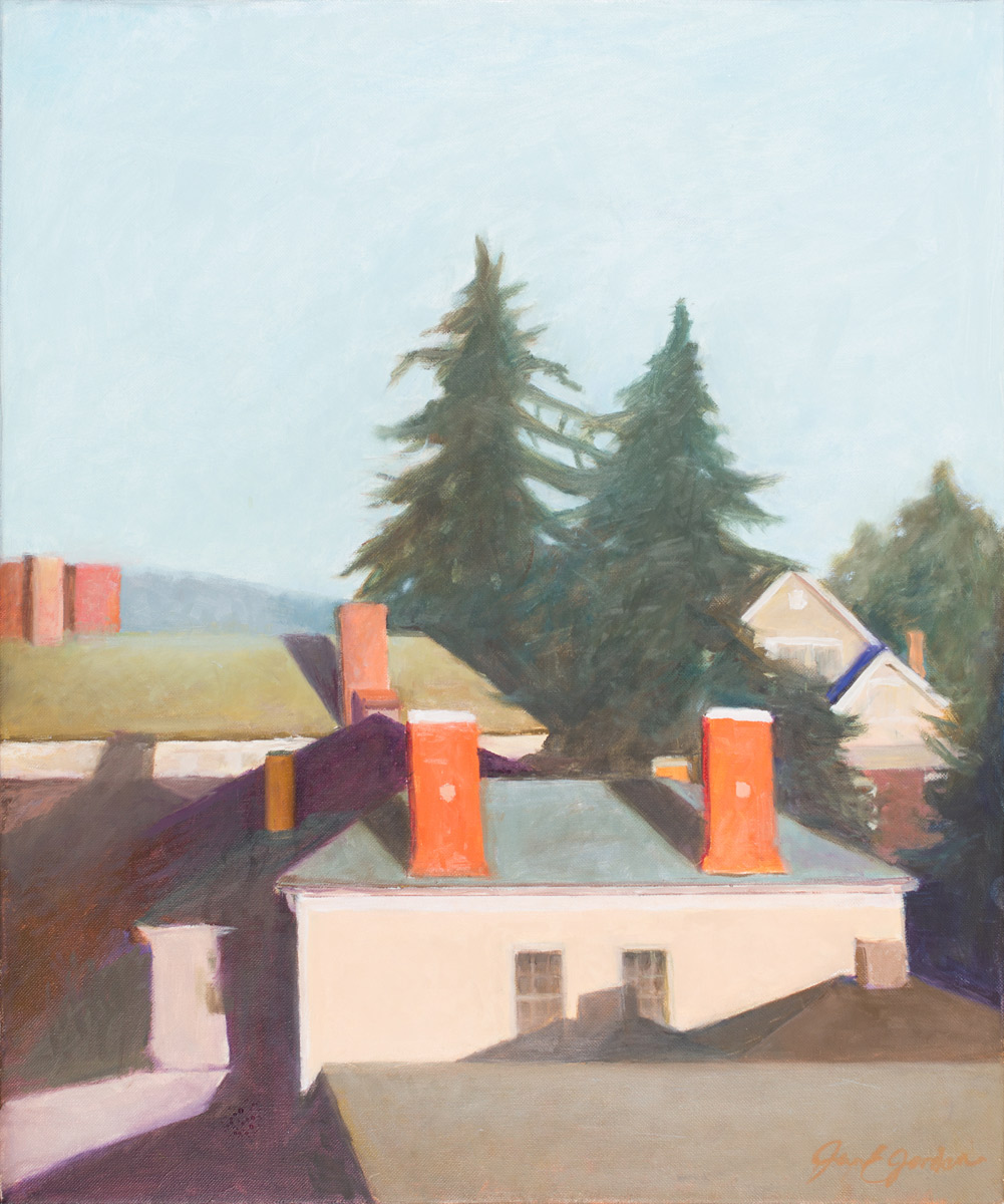 Fir Trees Above Rooftops