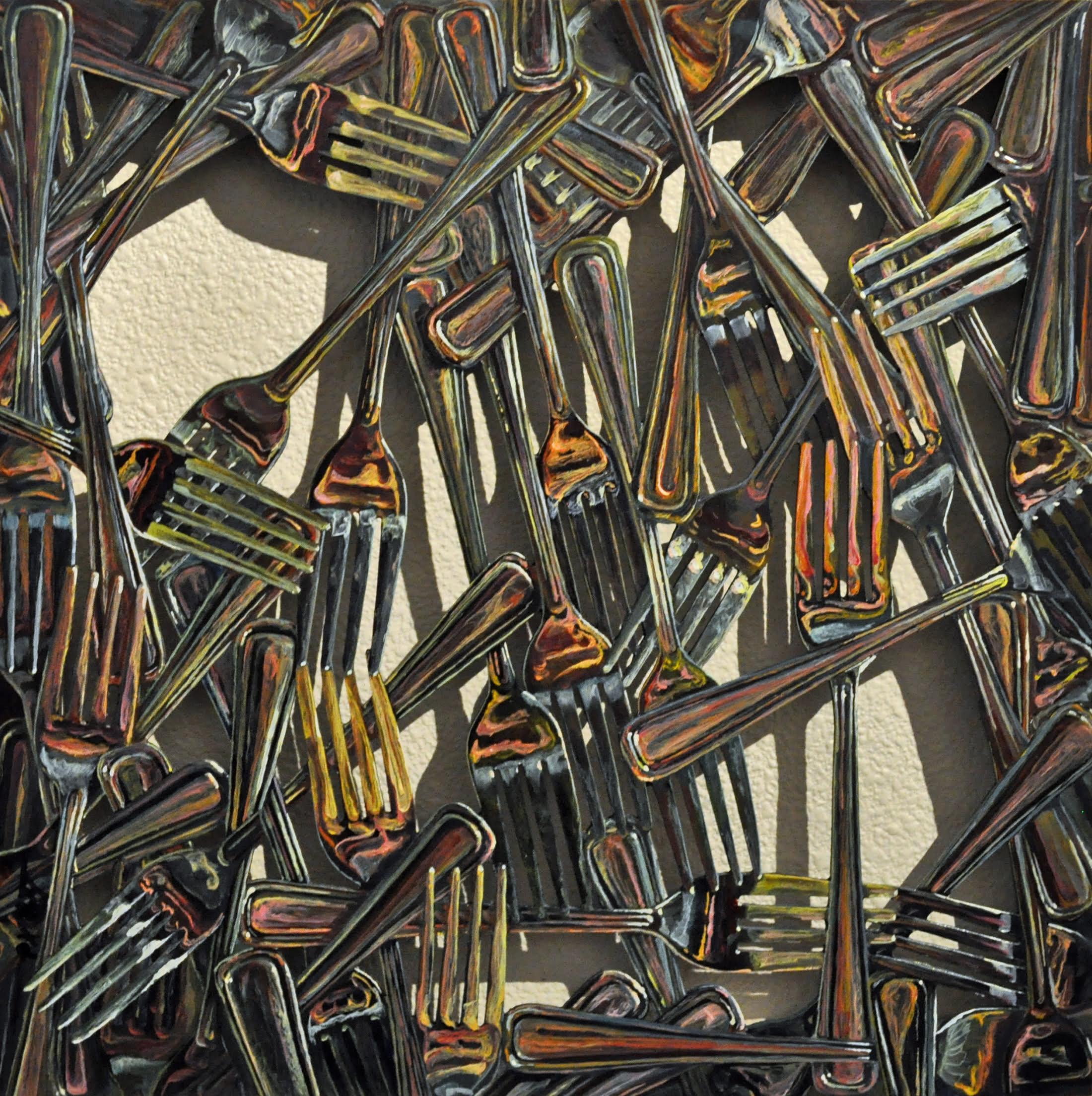 """""""Self Portrait in a Few Dozen Forks""""  12 X 12"""