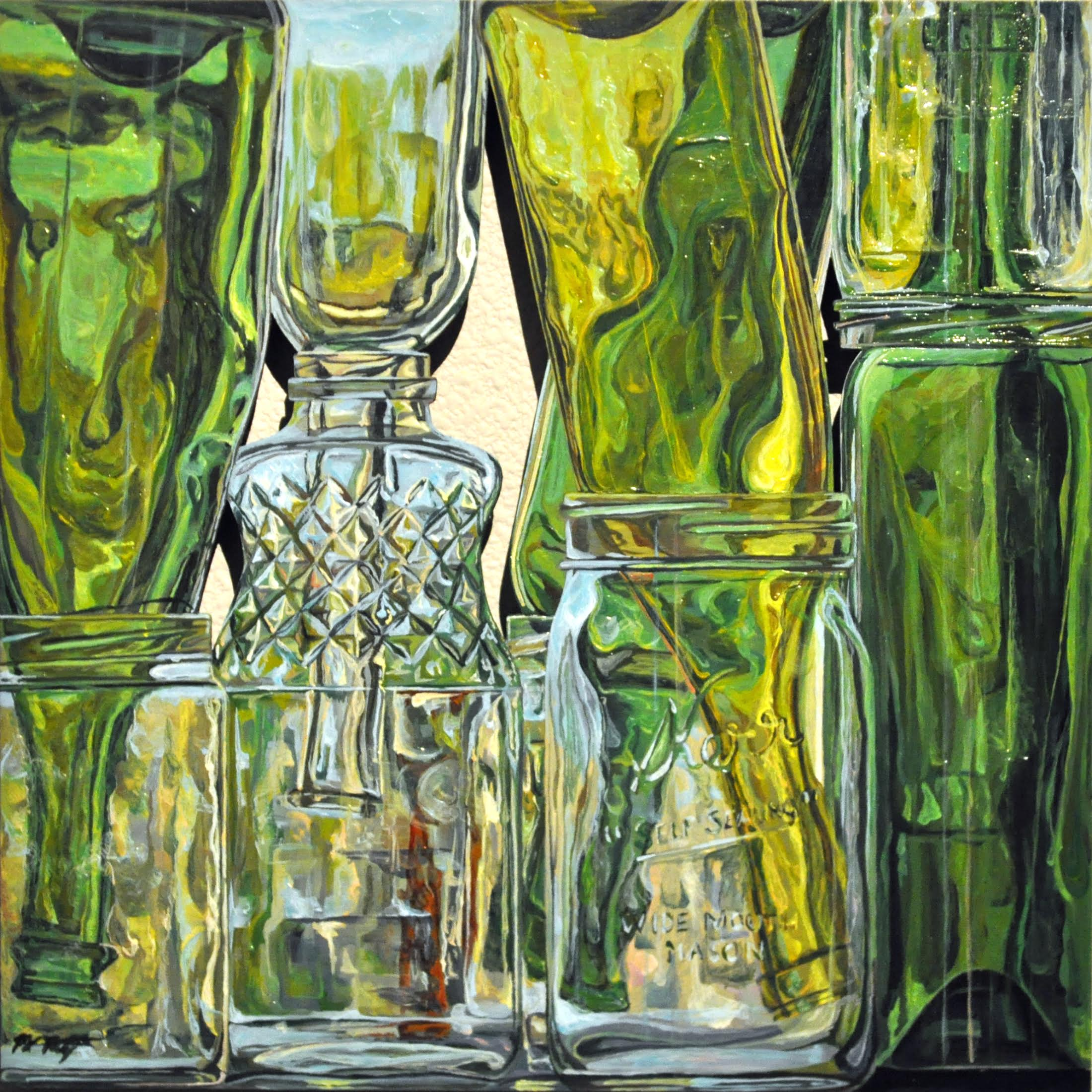 """Bottles Meet Jars""  12 X 12"