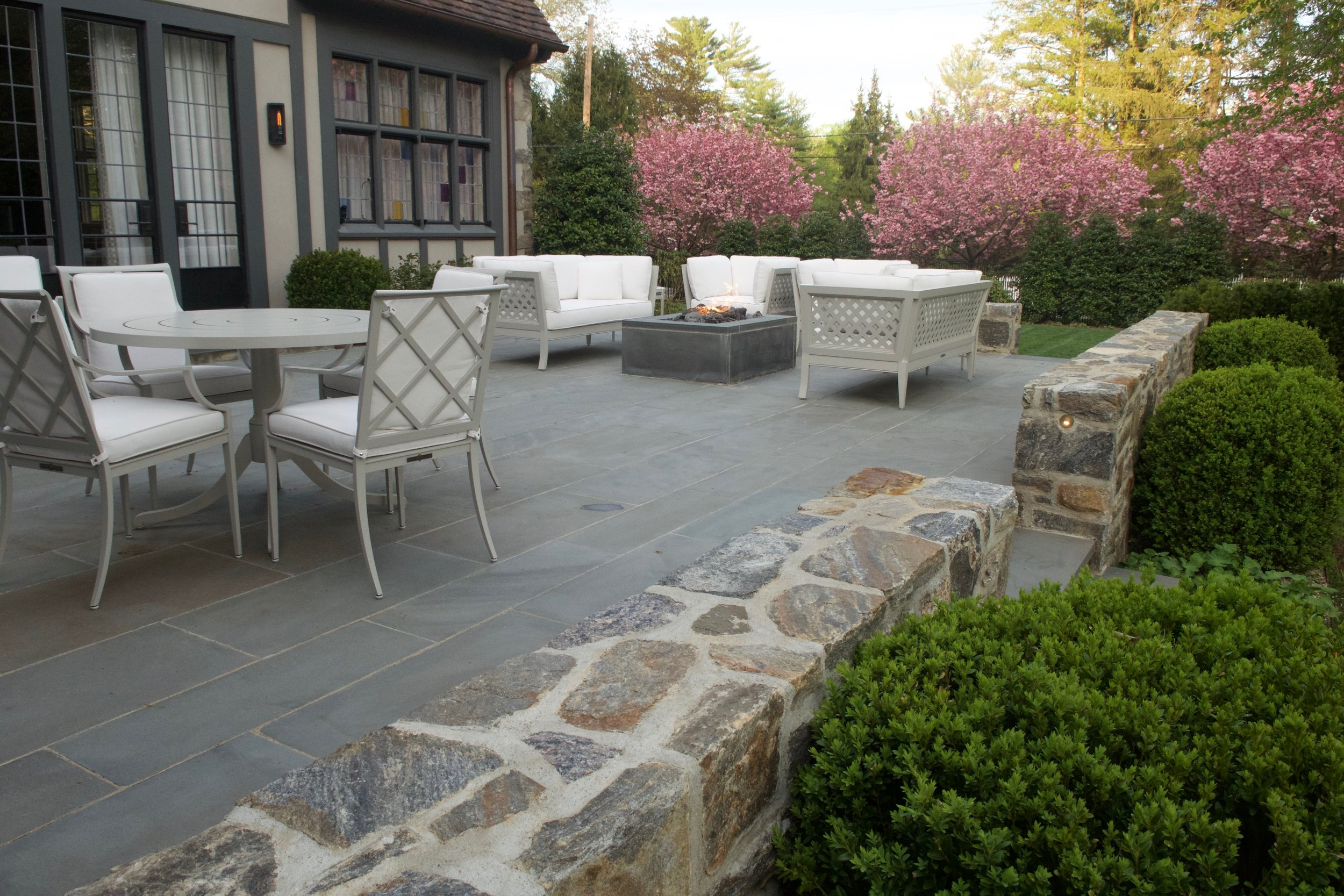 Patio, Sitting Walls, Fire Pit & Cherry Blossoms