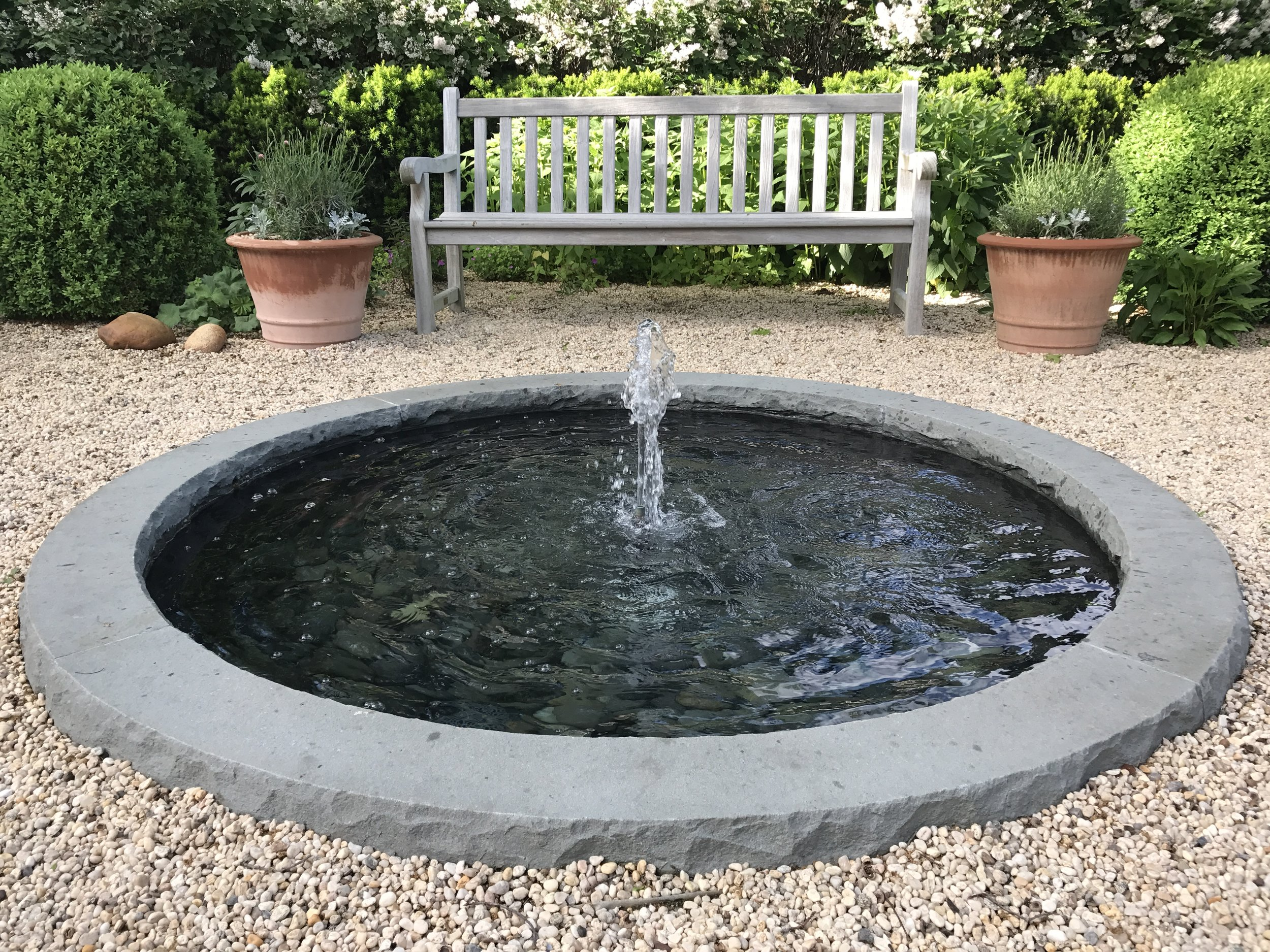 Garden Bench & Fountain
