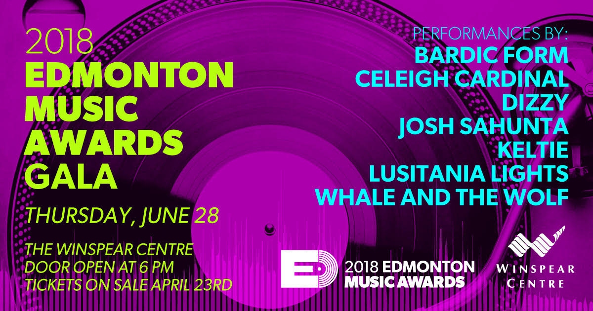 Doors open at 6pm for Red Carpet photos,cocktails, and networking. Tickets are $20 for adult and $15 for youth, and can be purchased through the Winspear Box Office:    https://www.winspearcentre.com/tickets/events/other/2018/2018-edmonton-music-awards/