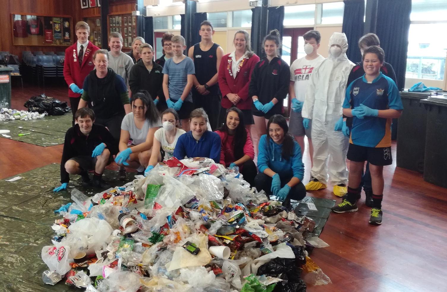 The waste plastics pile after the Stratford High waste audit.