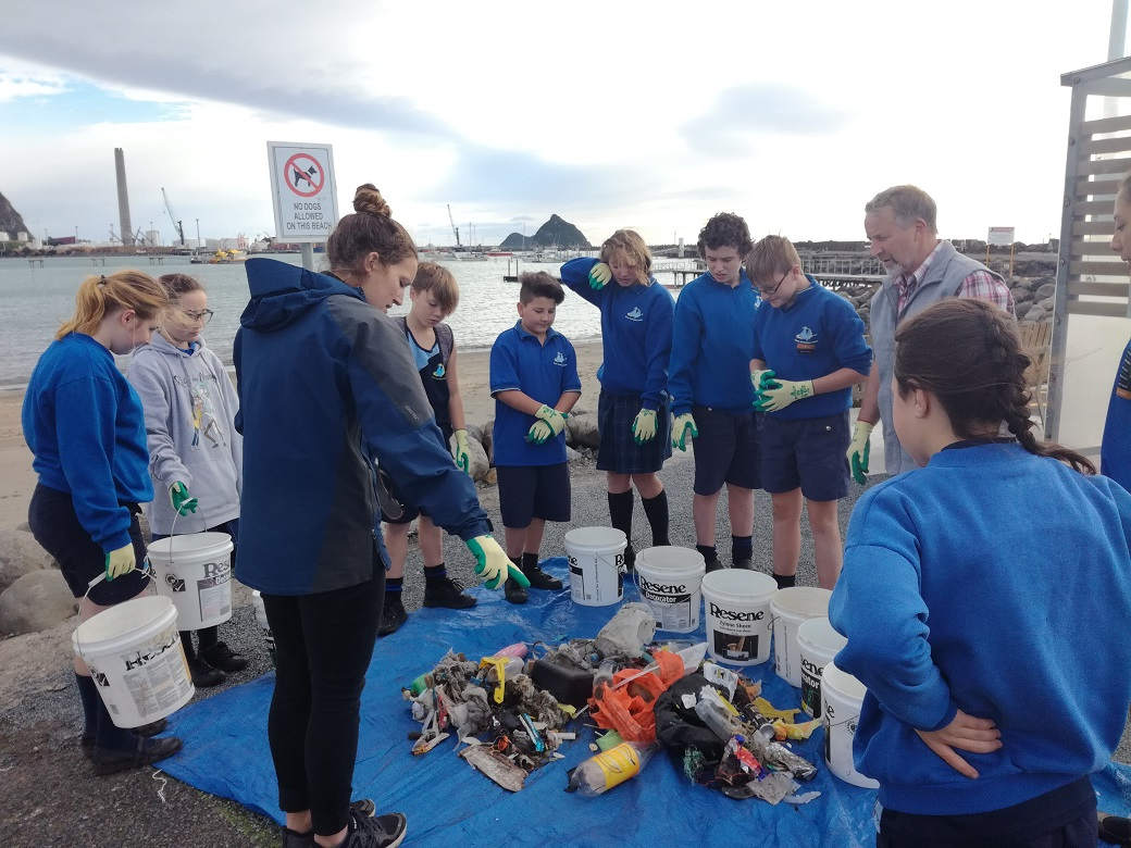 Devon Intermediate prepare to audit the beach waste they collected.