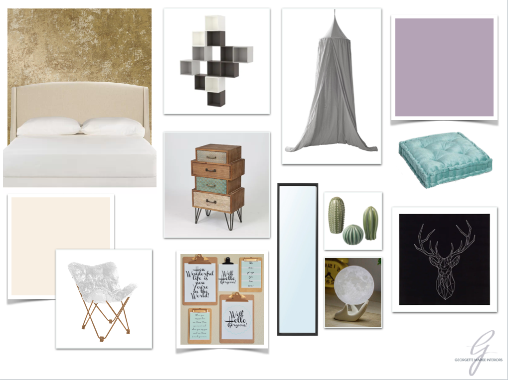 Mood Board: Each girl's style and needs we represented in this design.