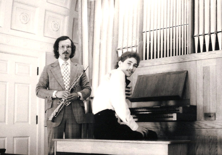 tim eyermann and gk at Yale organ 1978.jpg