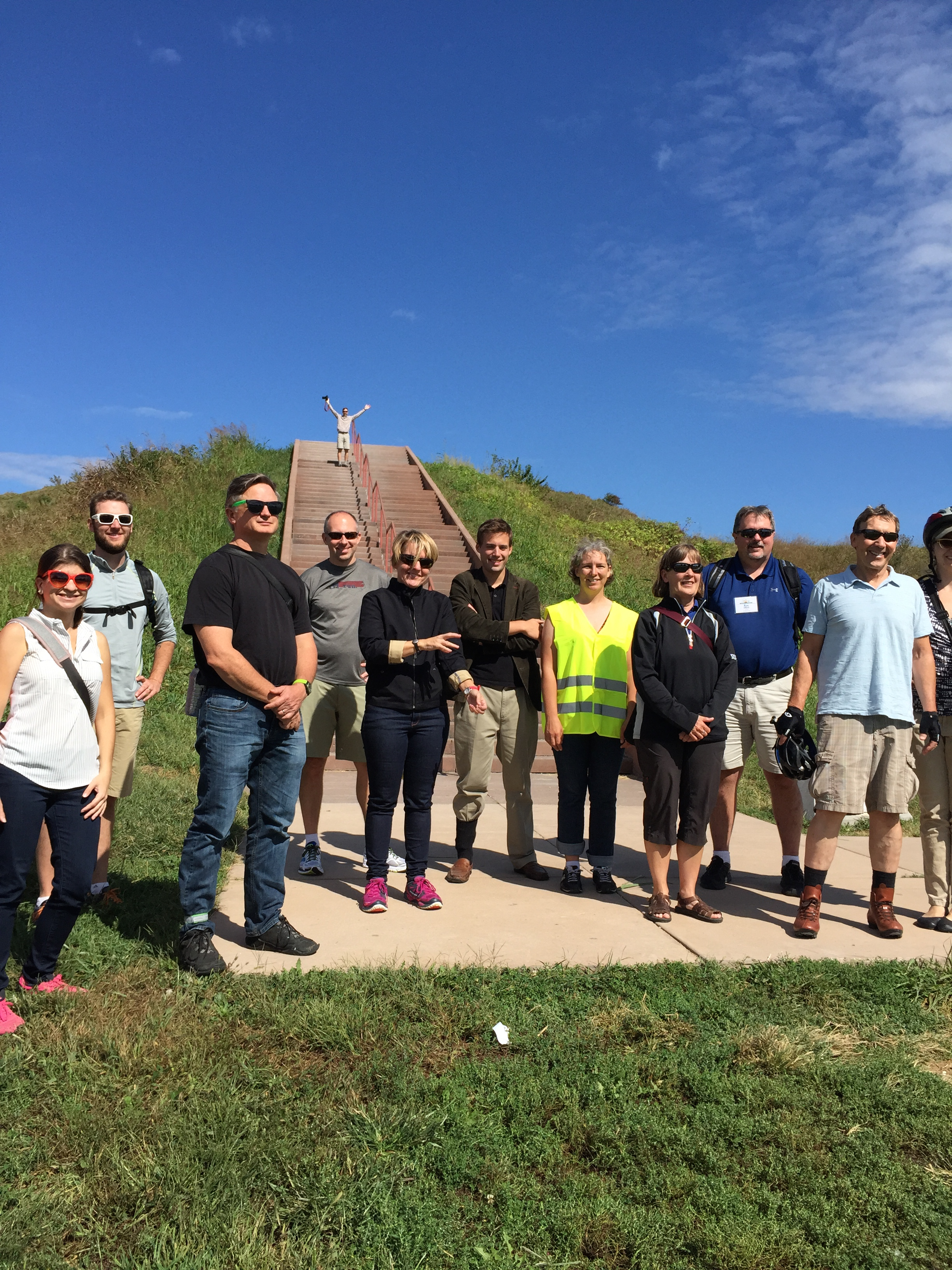 Group photo in front of Cahokia Mounds (me cut off on far right)