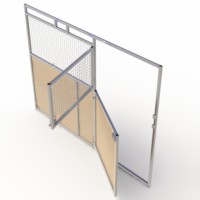Split swing door with access panel