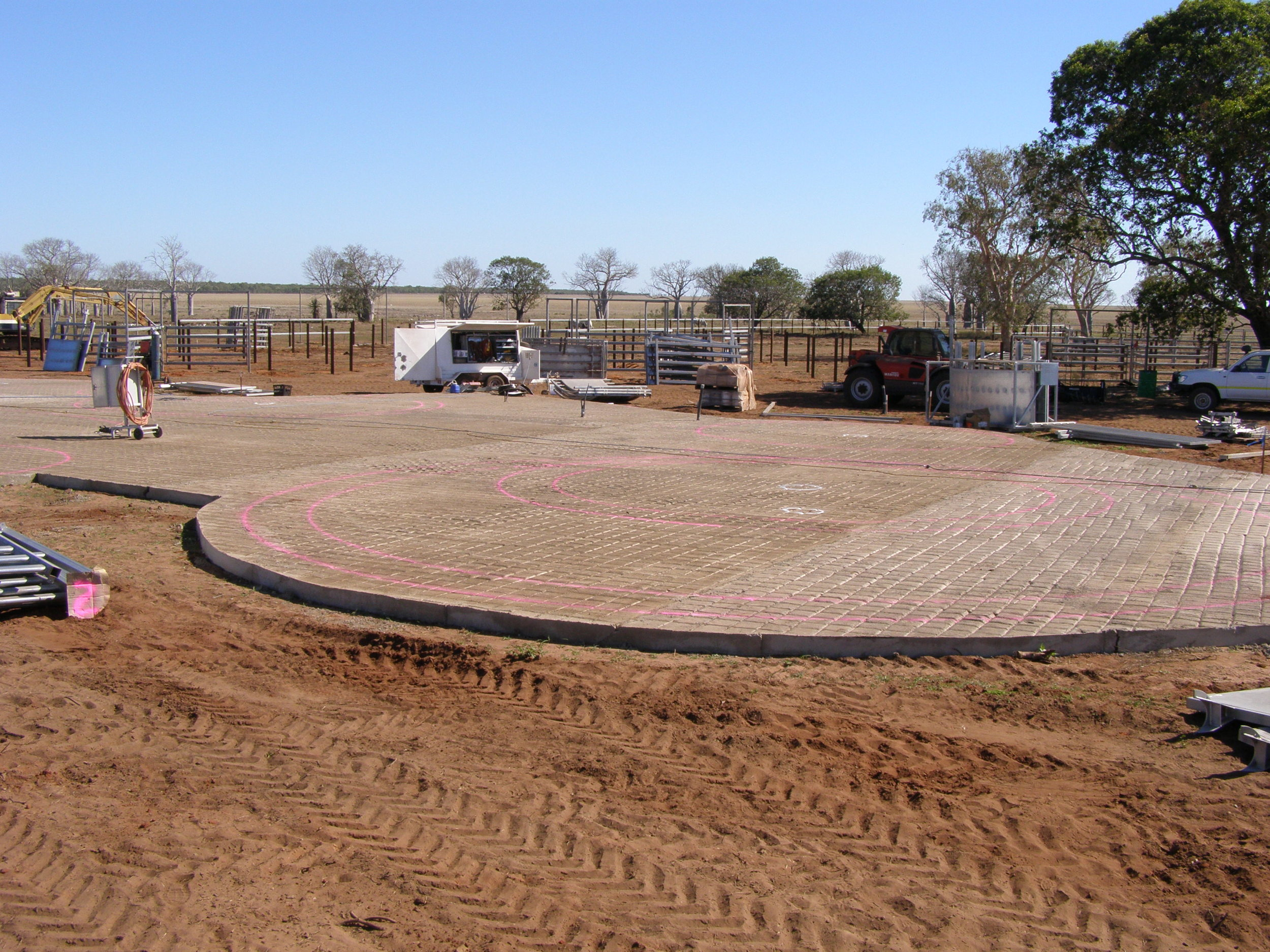 Concrete slab, ready for yards to be installed on it.