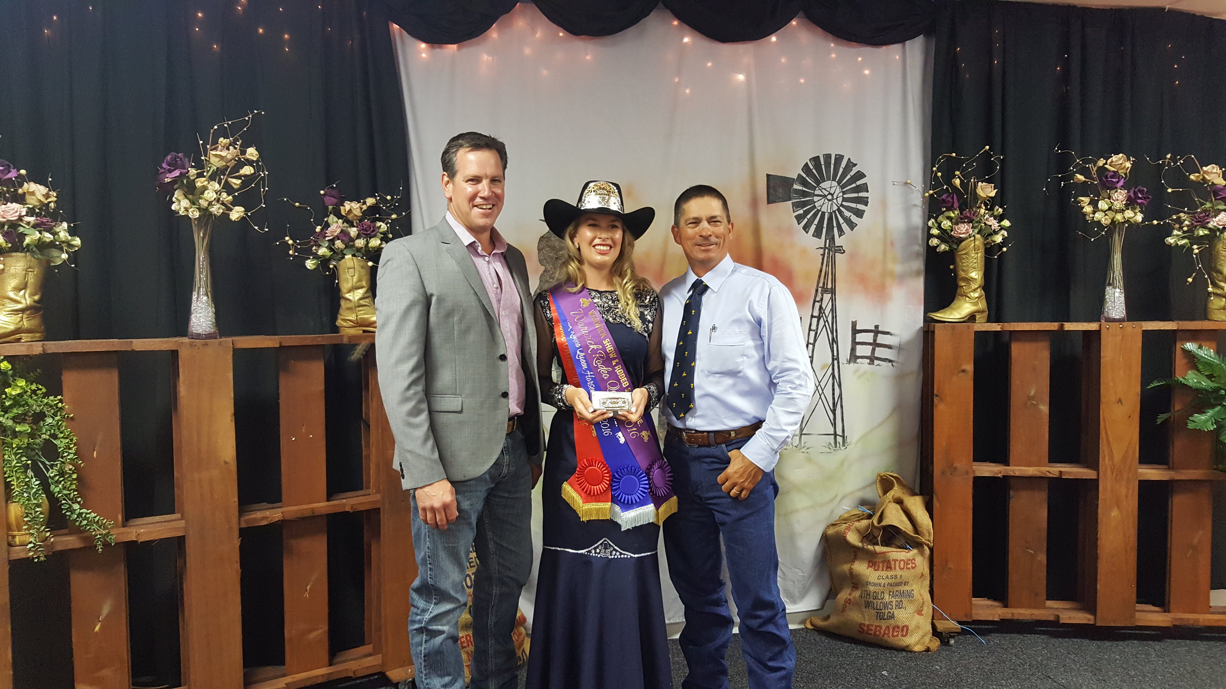 Byron Wolff with the Warwick Rodeo Queen Ashleigh Grant and her Father Geoff Grant