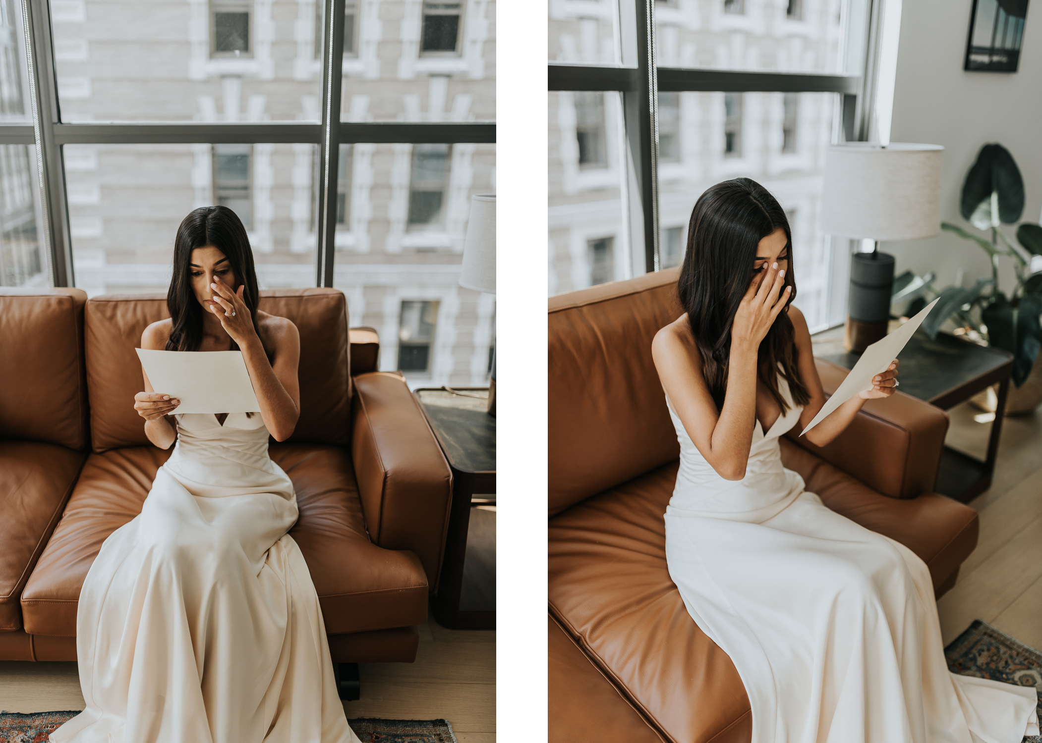 Emotional bride morning of wedding, reading letter from the groom. East Coast Elopements