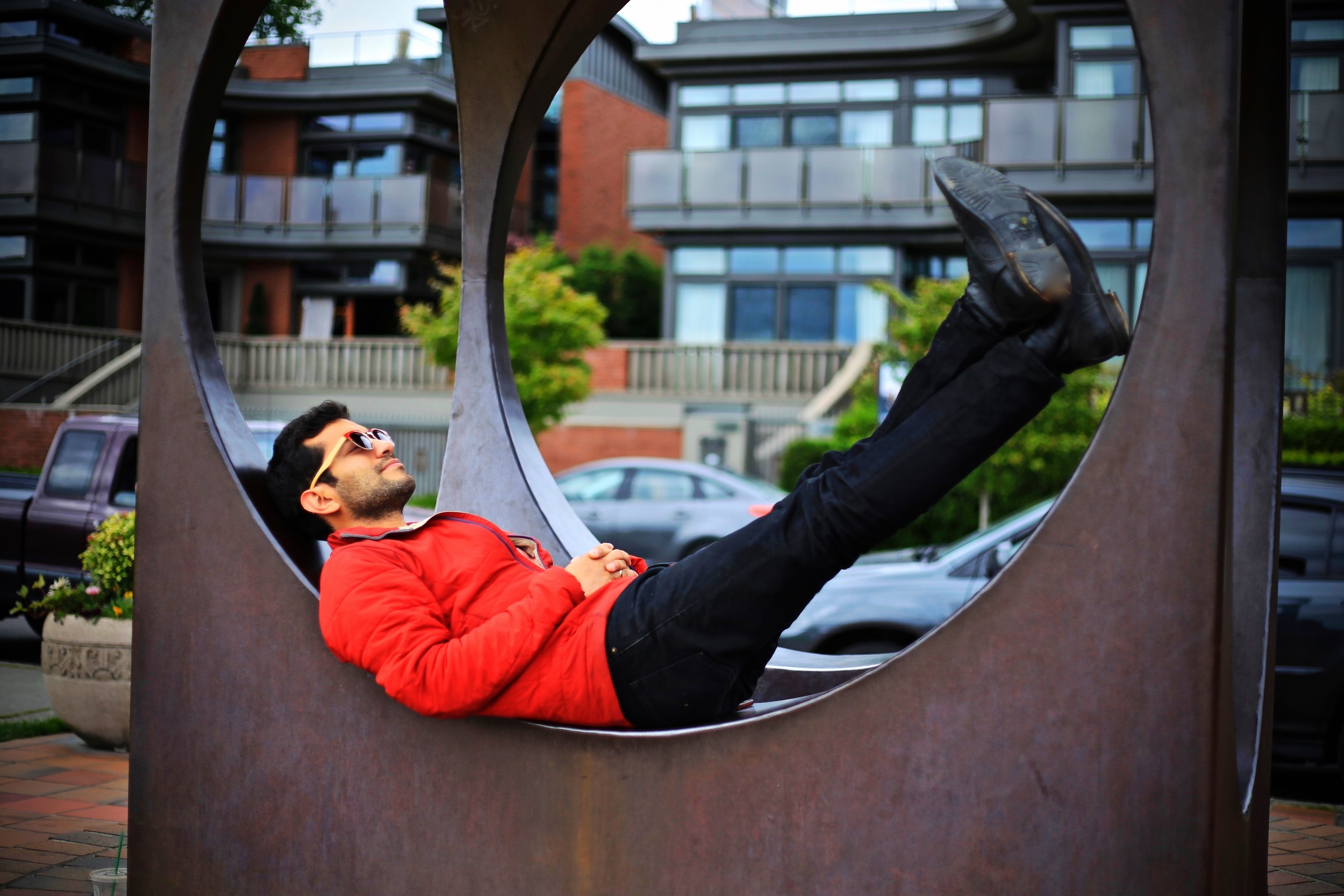 Photographer spending time in circular thought. Photo by Maya Rosen. Seattle. 2016.