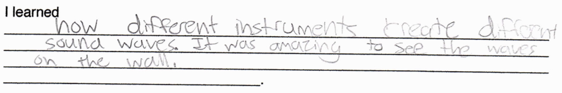 """""""I learned how different instruments create different sound waves. It was amazing to see the waves on the wall."""""""