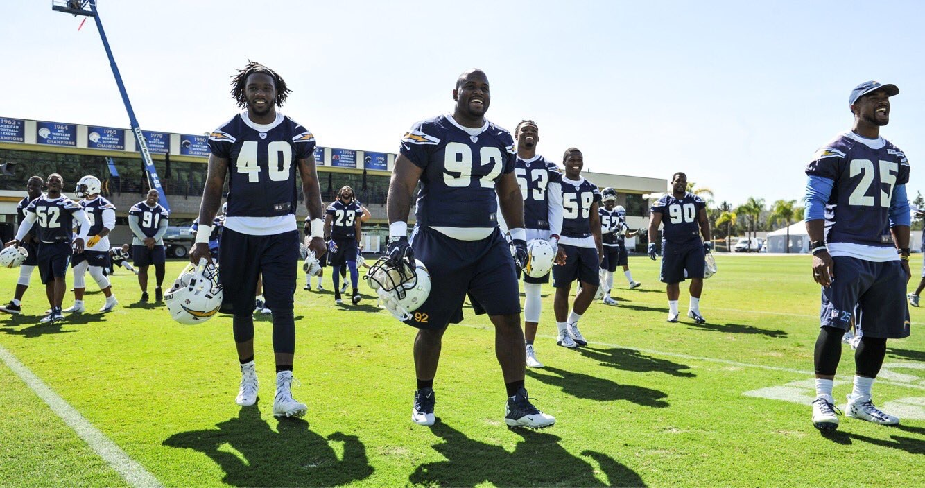 My last time practicing in San Diego, CA. Movin' on up the 405 for training camp! Source:  Chargers
