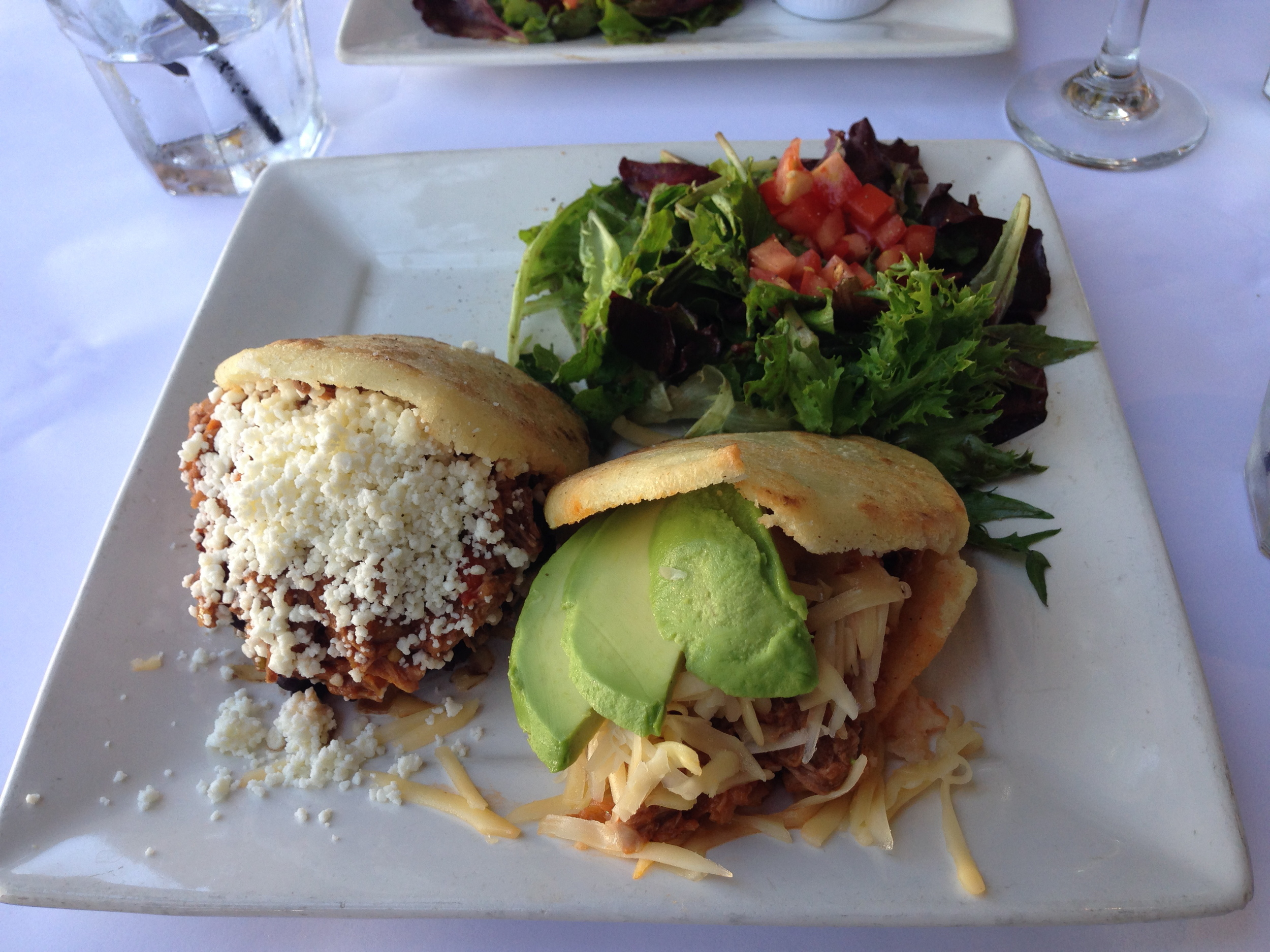 Left: Pabellon (My favorite Arepa). RIght: Pelua with Avocado Added