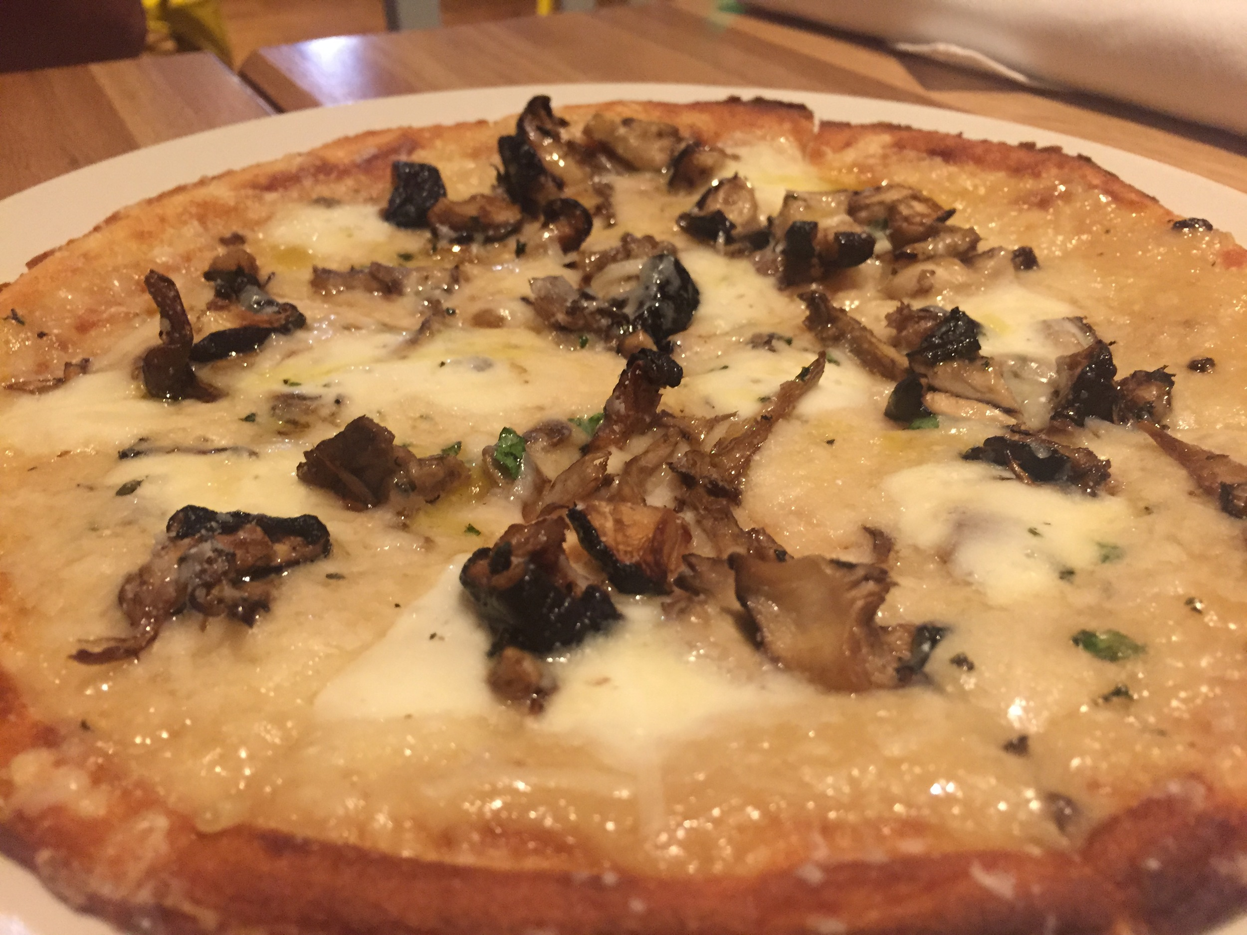 This was another time I got the Mushroom Pizza (with the gluten free crust) and added truffle oil to it.