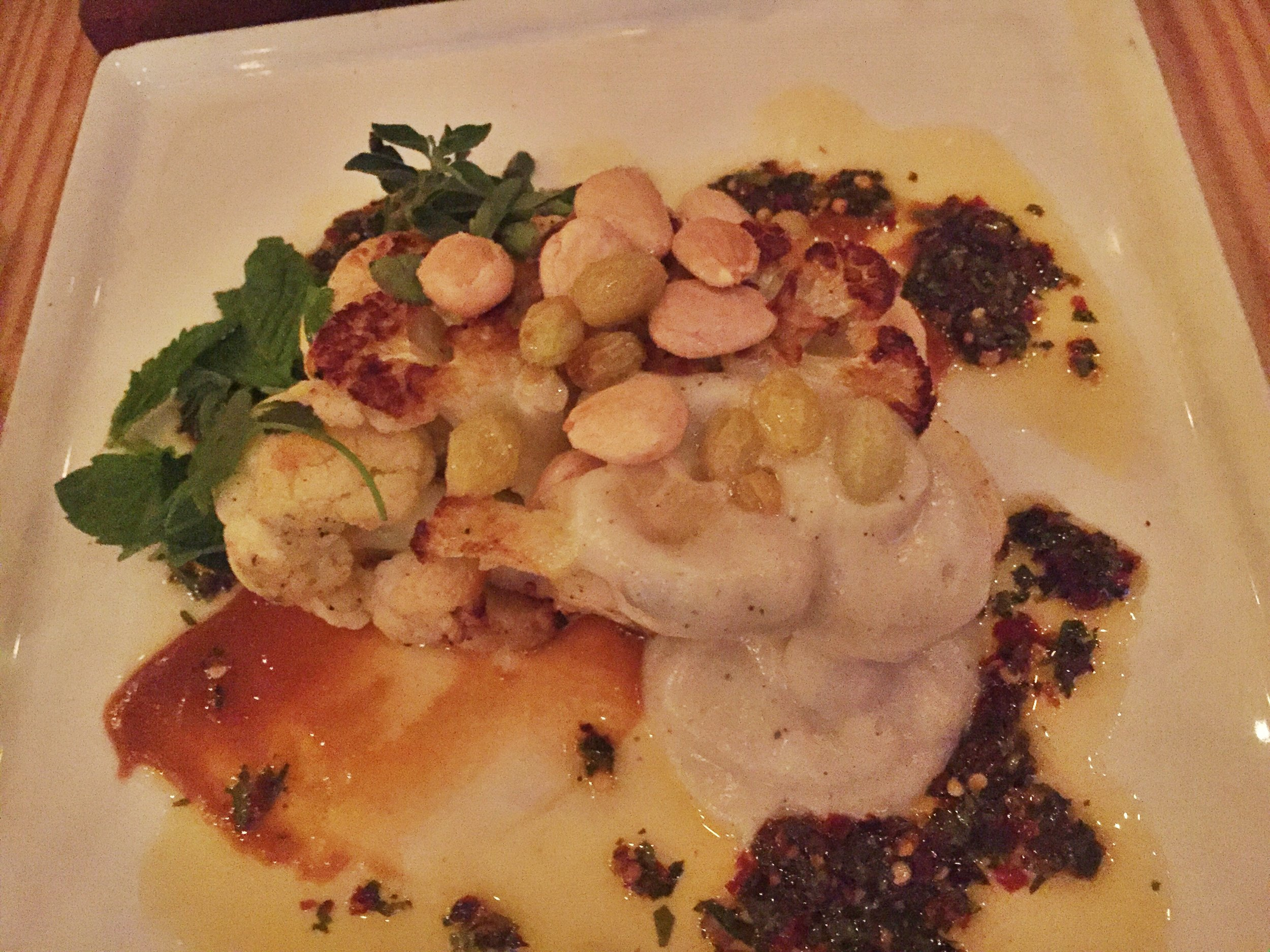 I know this picture quality is AWFUL, but this dish was so flavorful! It was a vegetetable side with cauliflower, cauliflower puree, marcona almonds, golden raisins, and some really delicious sauces. I LOVED it!