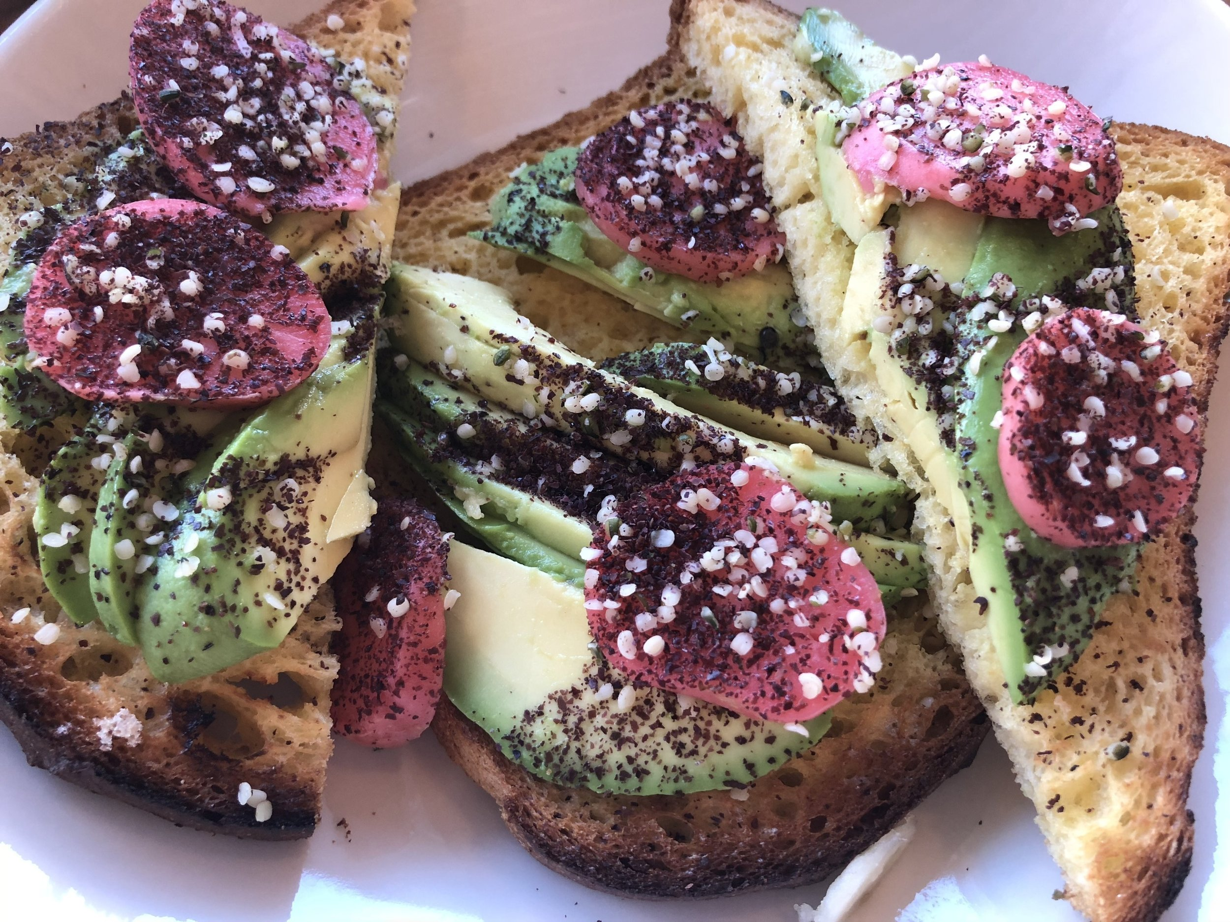 Gluten Free Avocado Toast  The pickled radishes were a great touch and looked beautiful