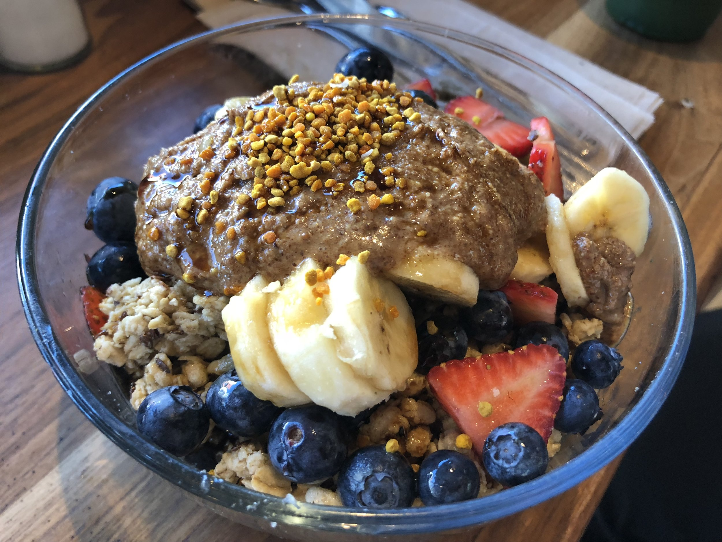 Zen Protein Acai Bowl with bananas and almond butter added