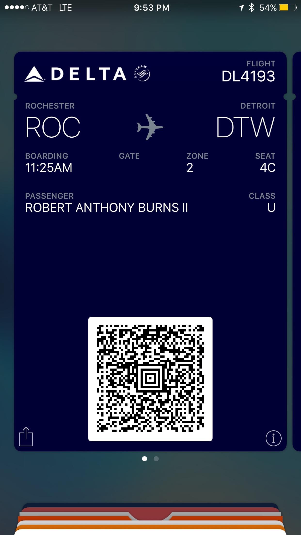 A boarding pass in Wallet.
