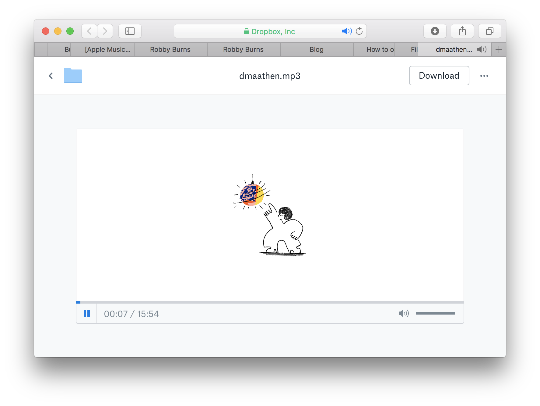Like, really, Dropbox. In this limited space, could you seriously not think of any more information I might want to see while playing back an audio file other than this dude dancing next to a disco ball? This particular page is even worse on the small screen of an iPhone.