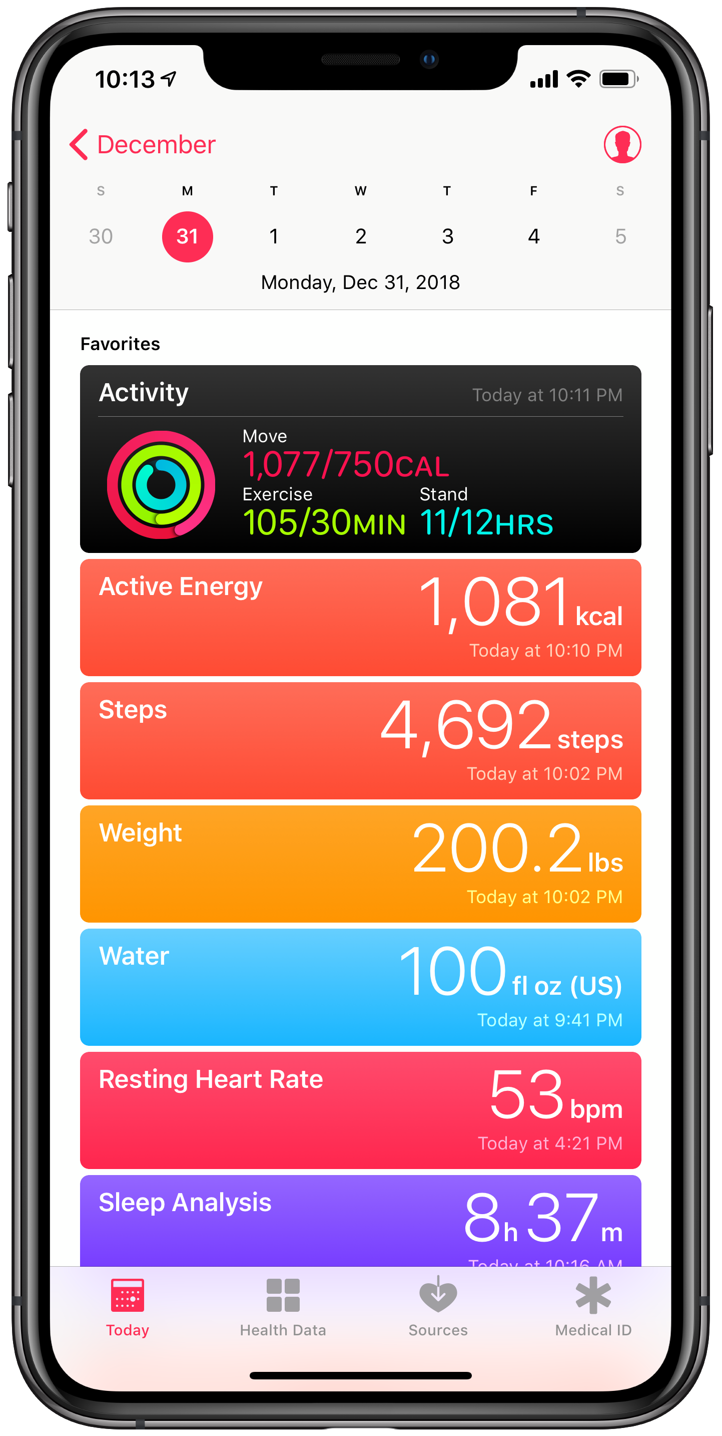 My Today view in Apple Health aggregates all of my health data regardless of which app is responsible for tracking it.