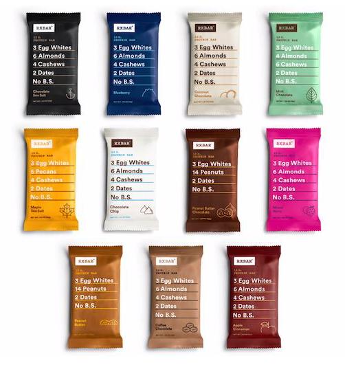 Rx Bars come in diverse flavors.