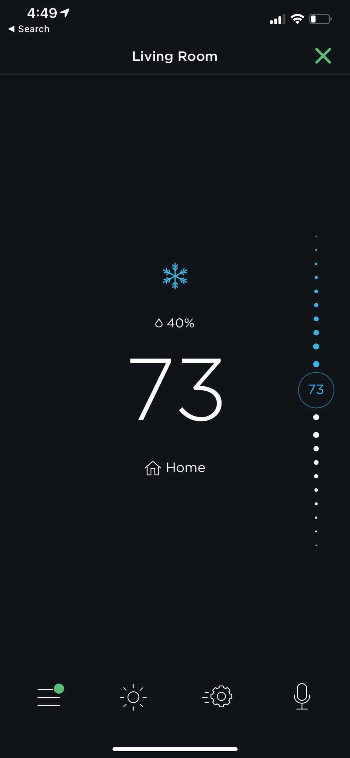 Once you tap on a thermostat, you get more detailed controls.