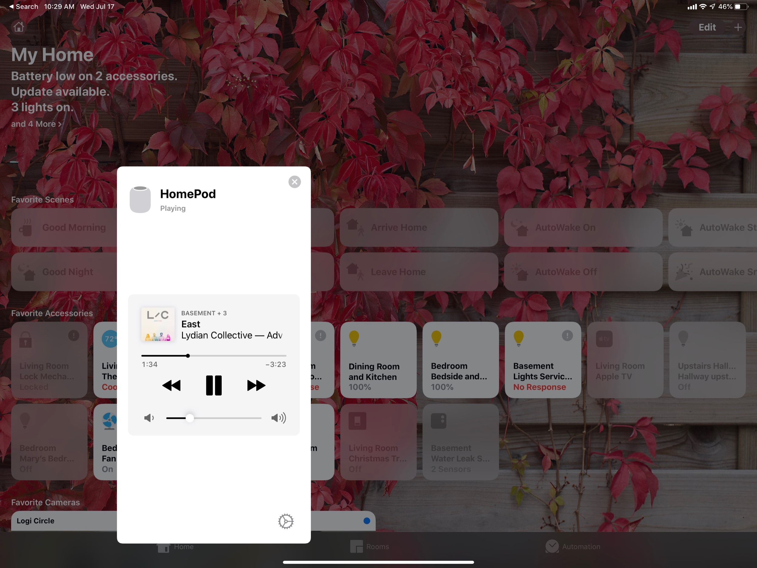 In iOS 13, HomePod play controls show up right in the Home app.