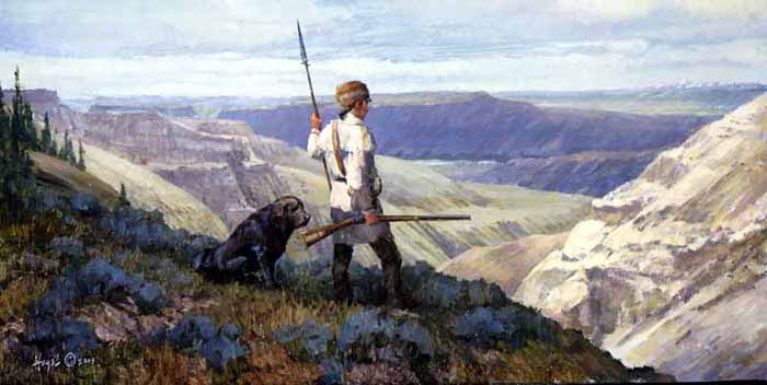 Lewis and Seaman - First View of The Rockies  May 26, 1805