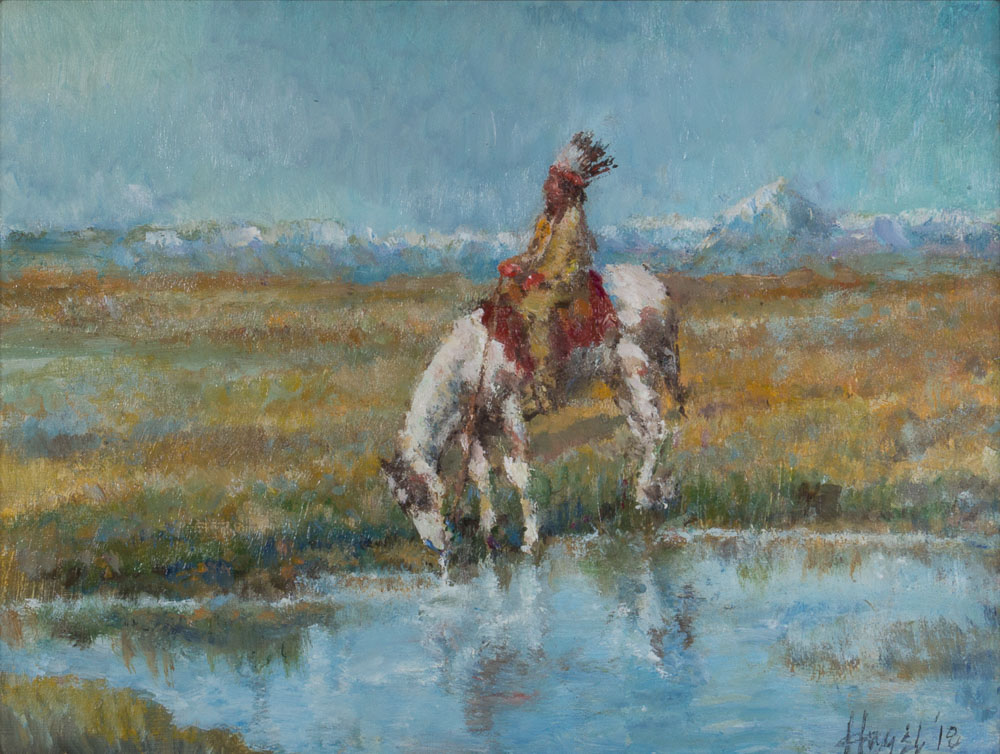 "Watering / Piegan, 9"" x 12"", oil"