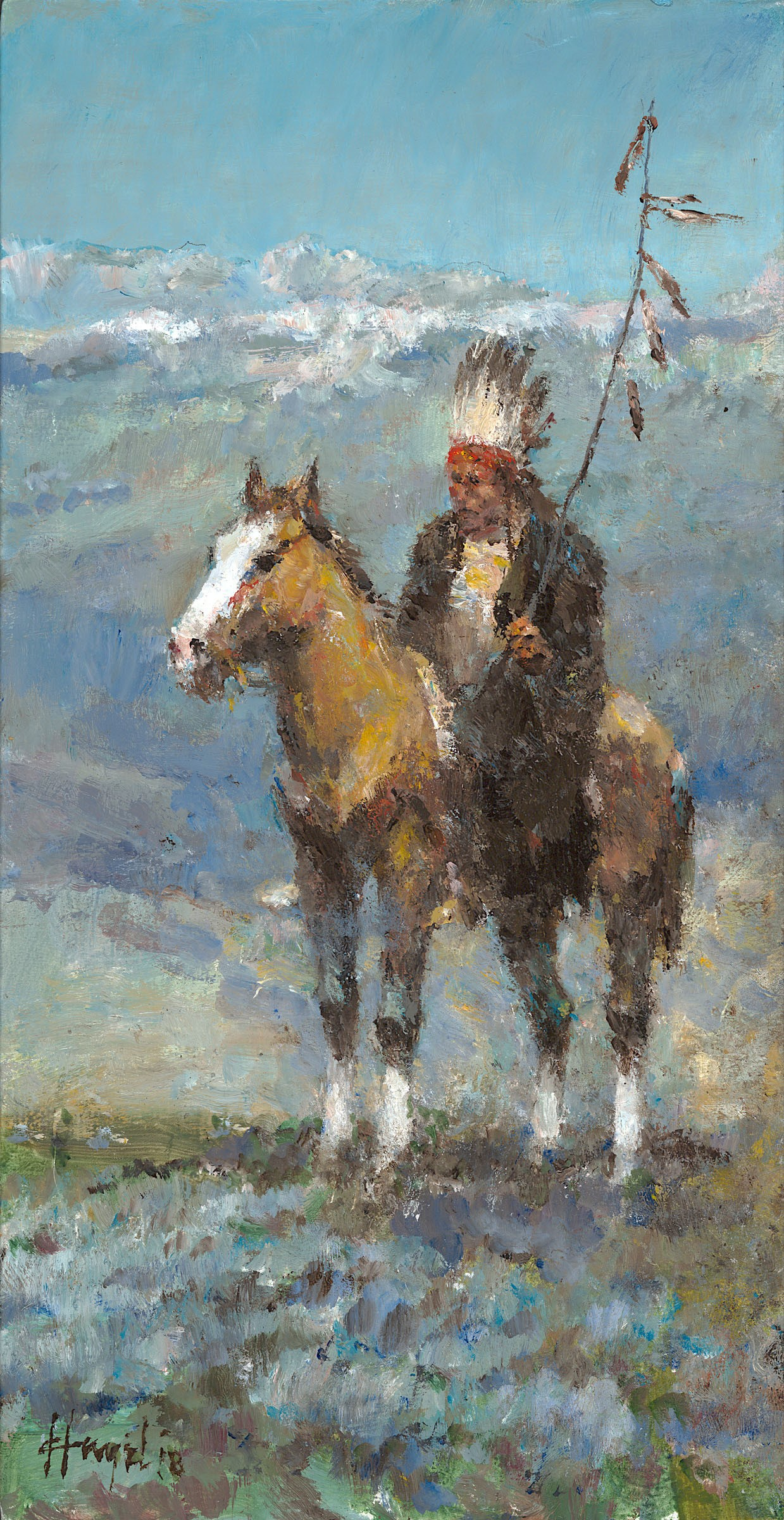 "Pikuni Warrior (Blackfeet), 15"" x 8"", Oil, Sold"