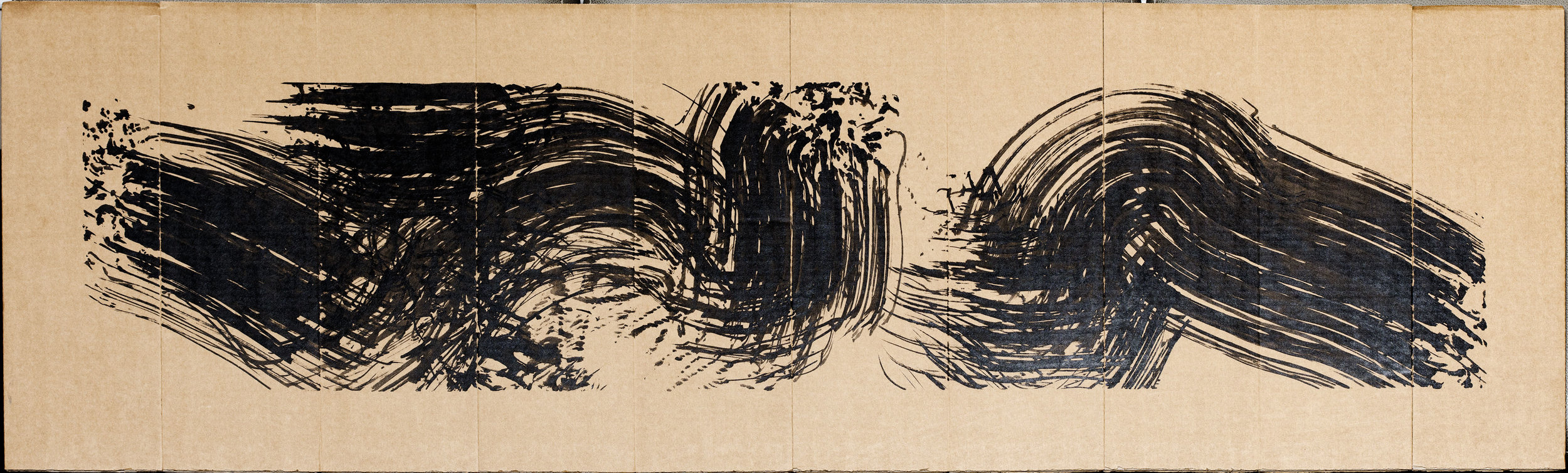 "Sirens I (recto)  2016  ink on folding corrugated cardboard  19"" x 72"""