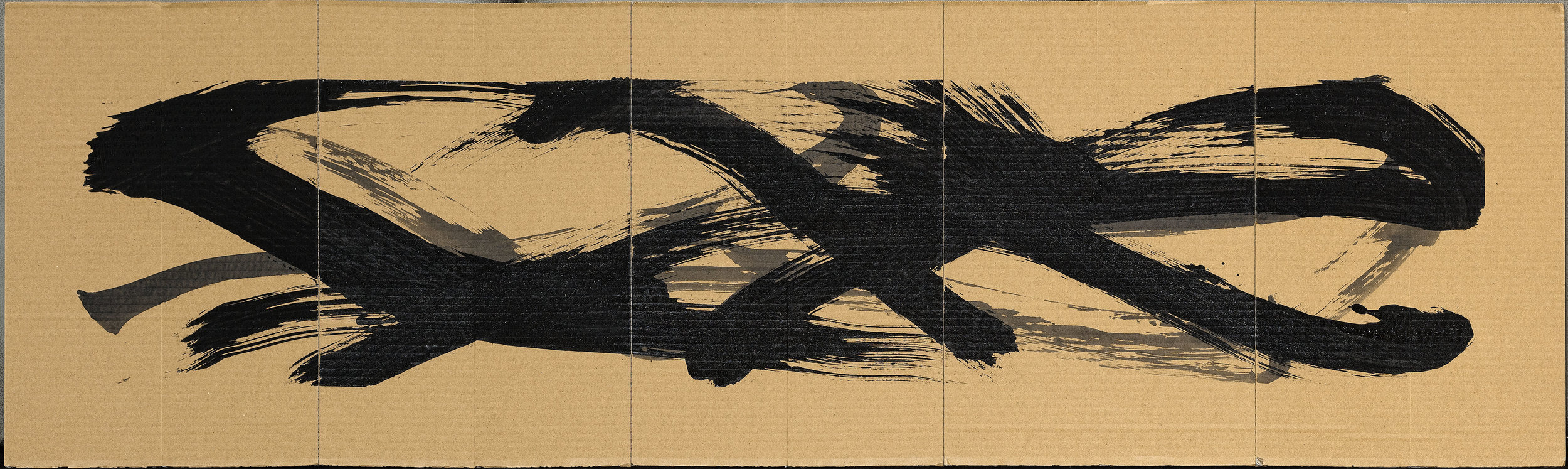 "Siren Song (verso)  2016  ink on folding corrugated cardboard  19"" x 72"""