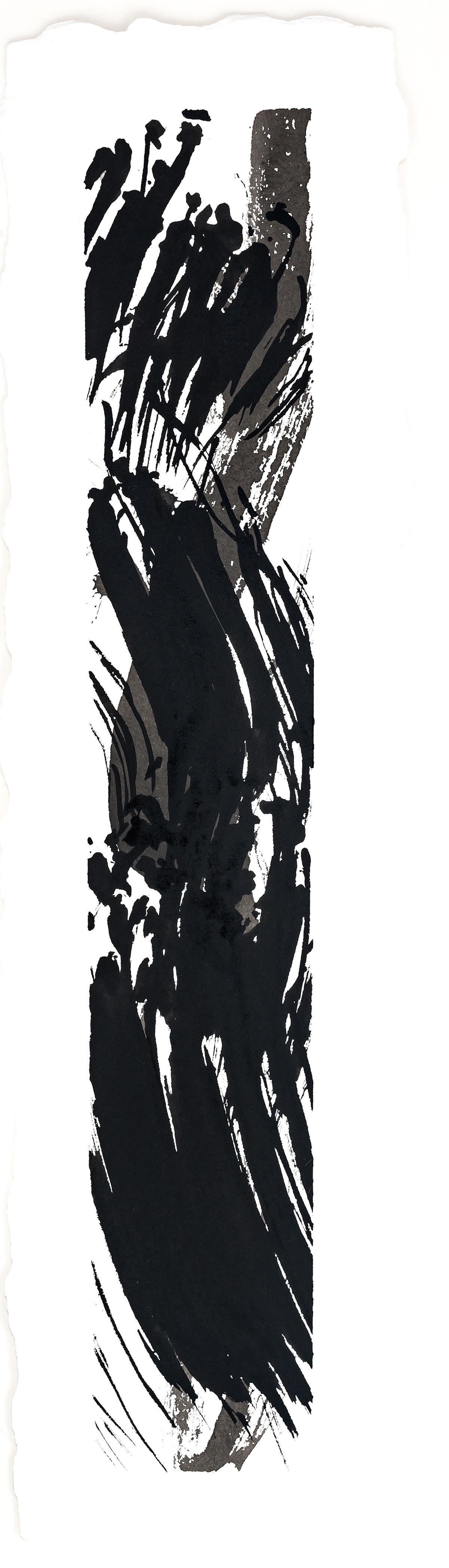 "Mistral  2016  inks on paper  9 x 31"""