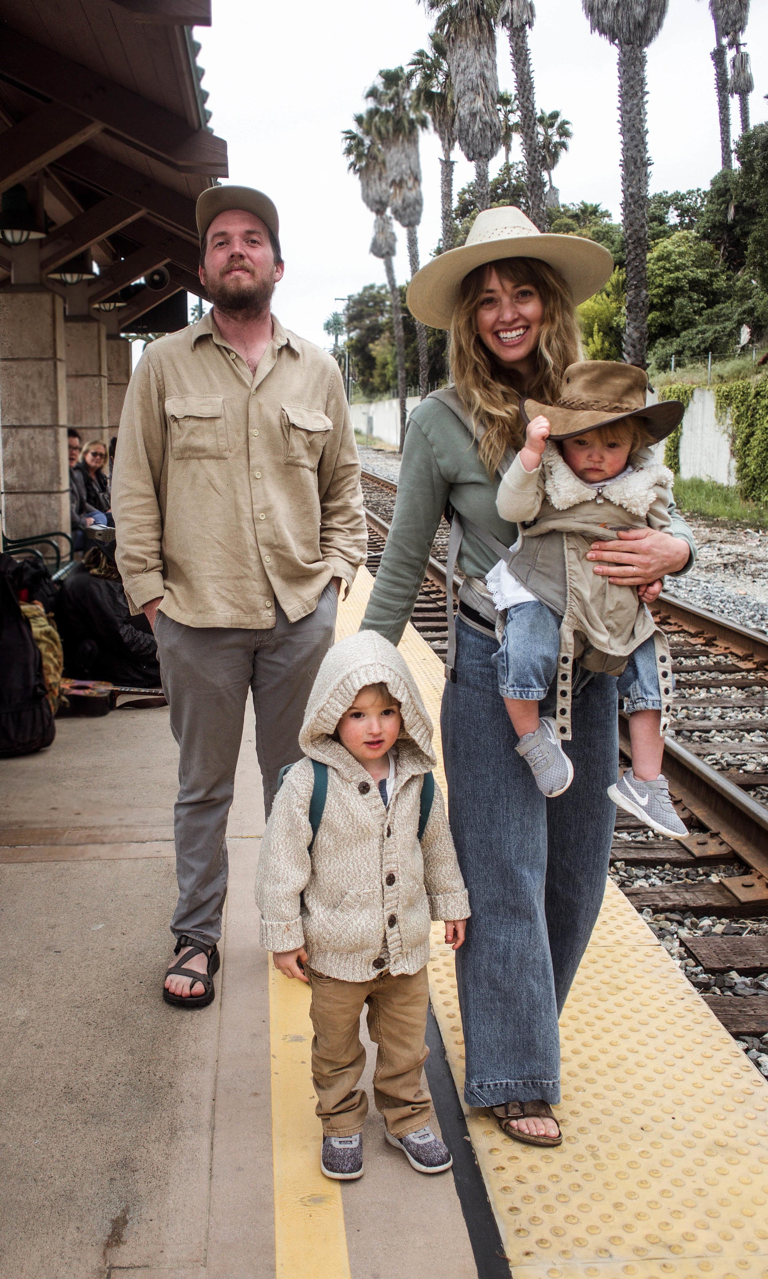 family at the Ventura train station