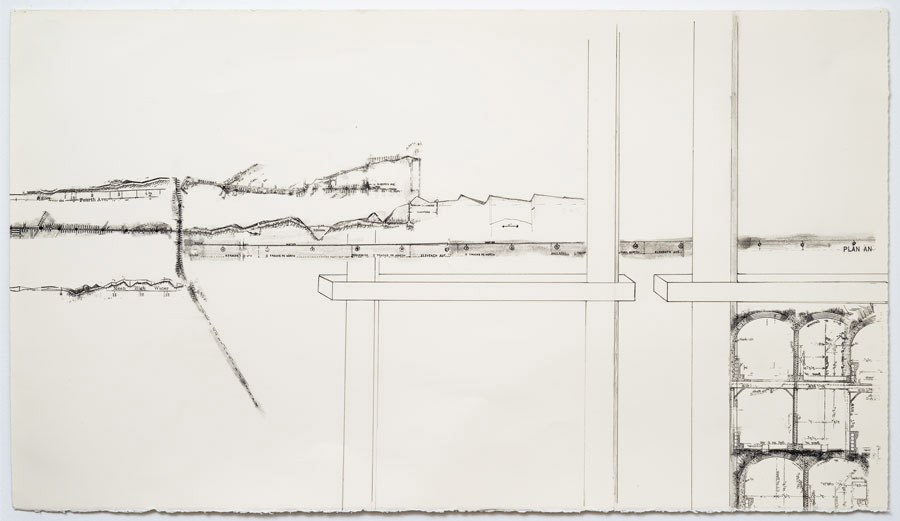 Cut and Cover - I   2011  10 in. x 28 in.  Ink, pencil, on paper