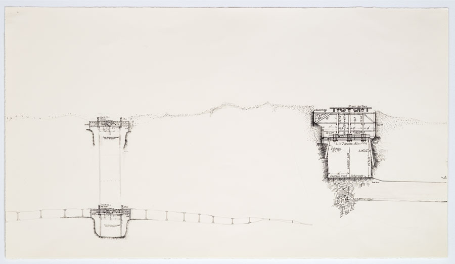 Cut and Cover - VI   2011  10 in. x 28 in.  Ink, pencil, on paper