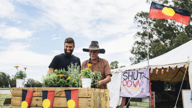 Daniel Koch, who is setting up community gardens at the Aboriginal Tent Embassy, with Uncle Chris Tomlins. 20 Jan 2015 Photo: Rohan Thomson The Canberra Times  Photo: Rohan Thomson