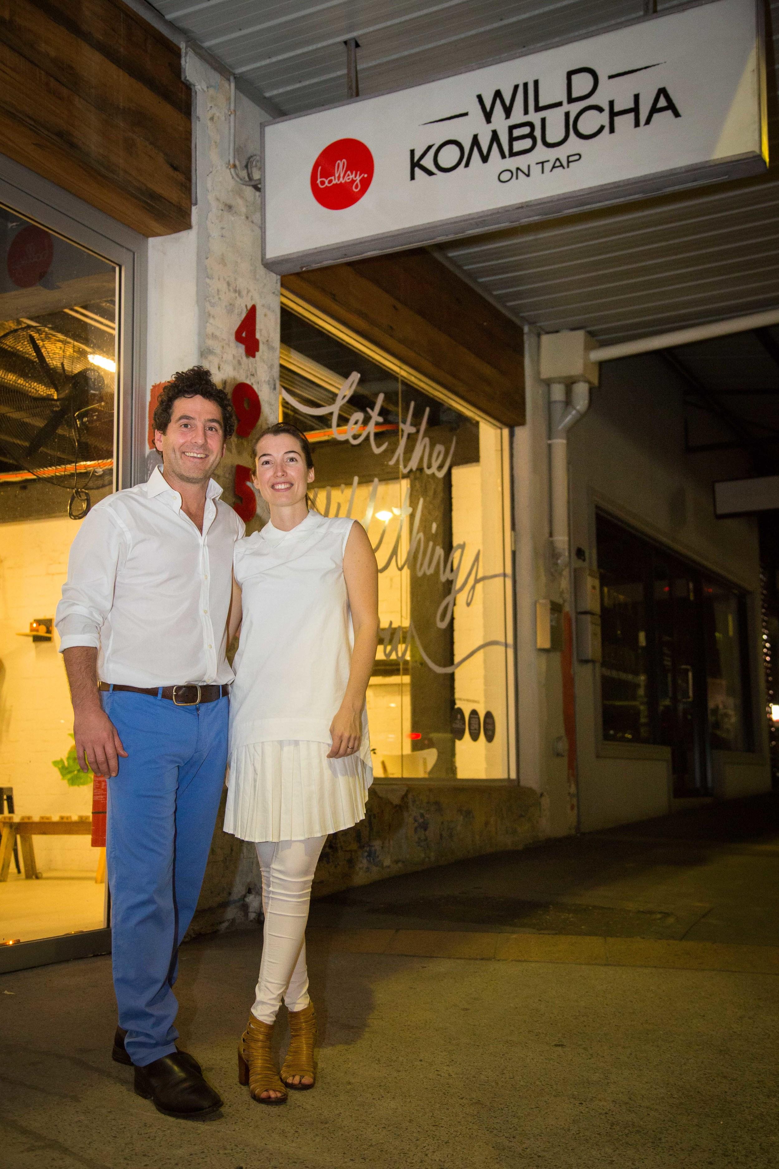 Matt and Lara outside the Kombucha Bar & Art-Food-Medicine Collaboratory in Leichhardt, Sydney