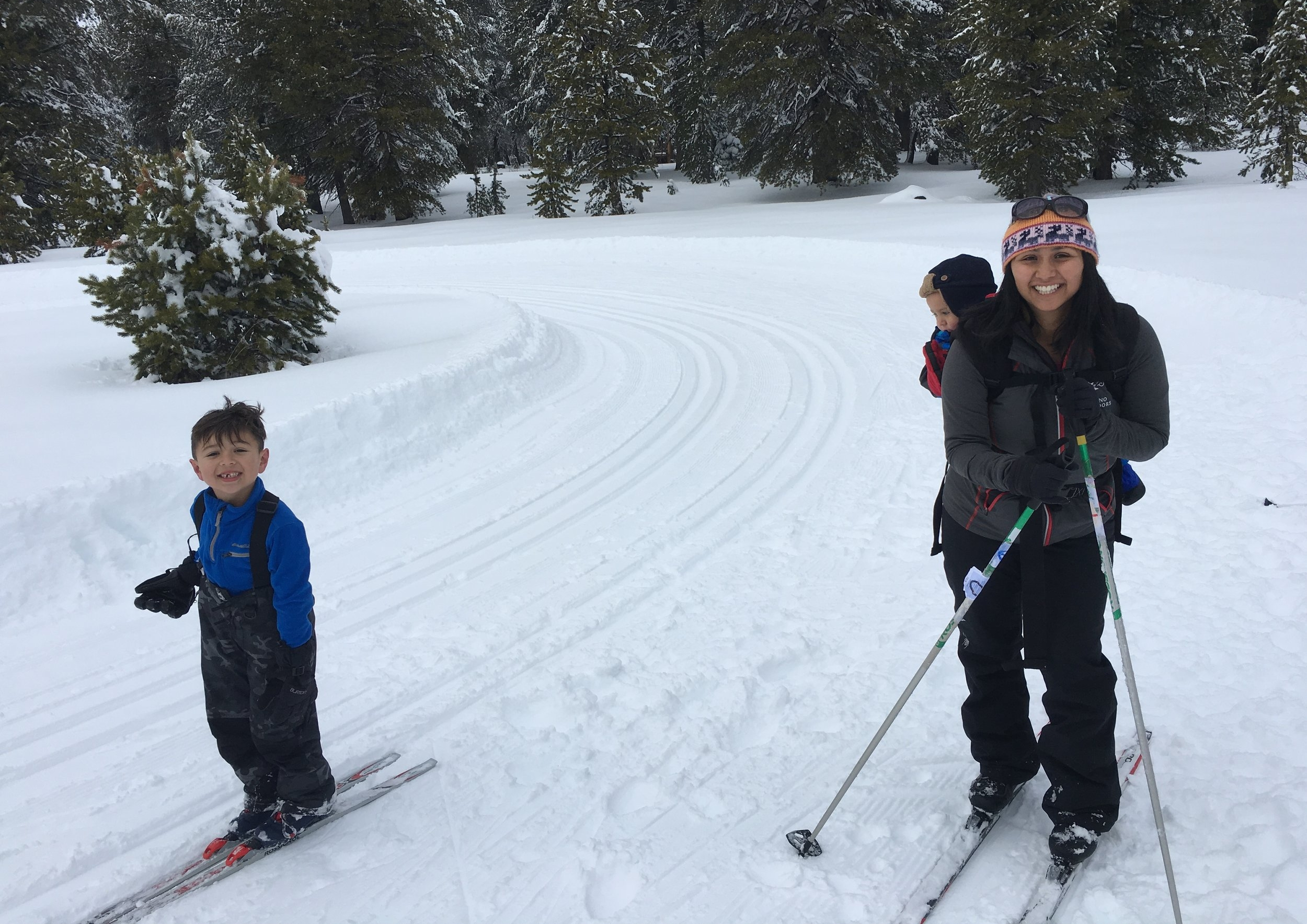 Not sure if baby-wearing is appropriate in cross-country skiing! Everyone is still alive.