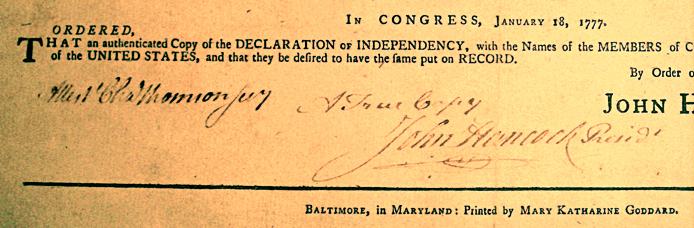 Mary Katherine Goddard's name on copies of the Declaration of Independence