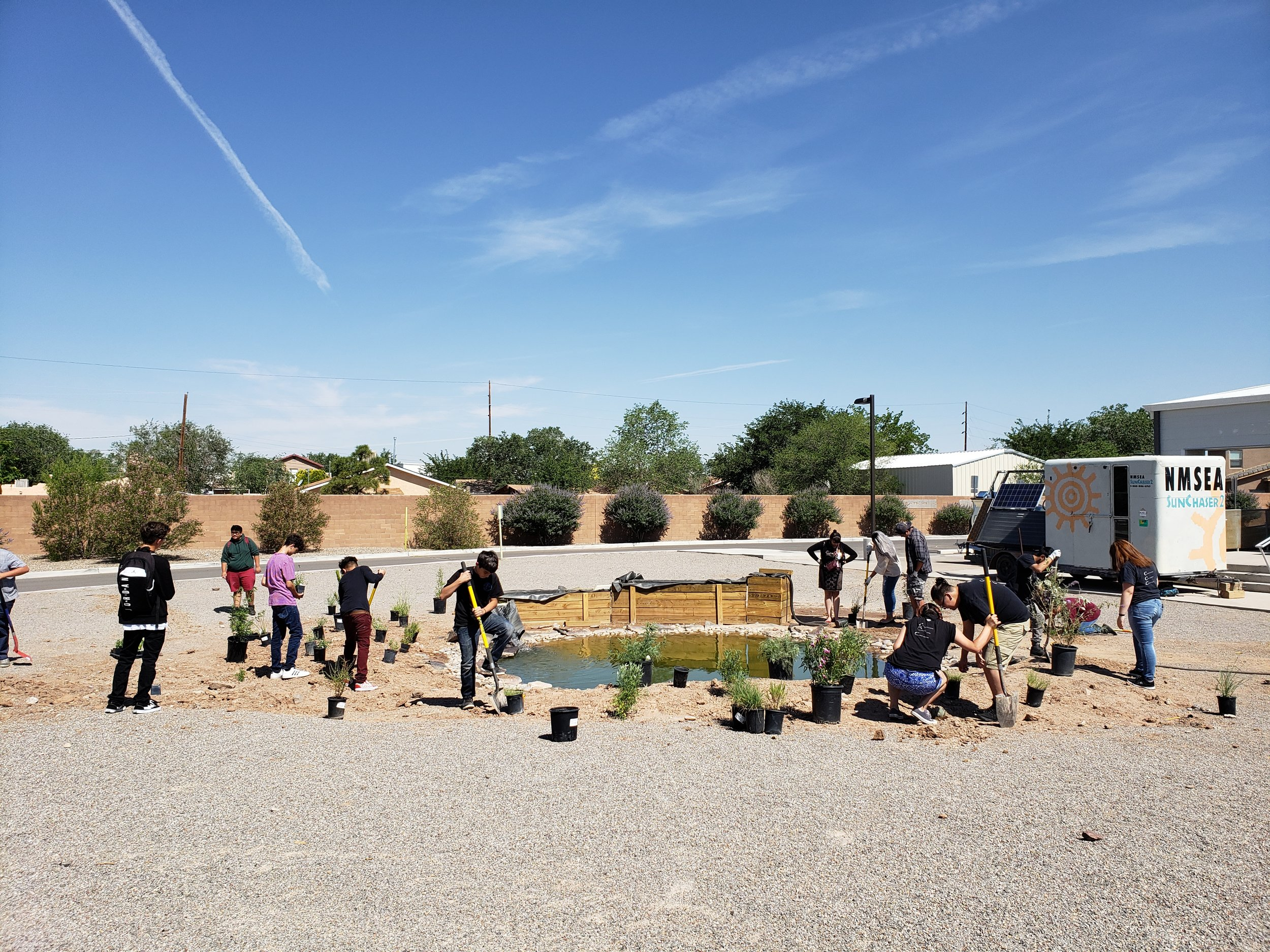 Look at this crew! The kids from ACE high school installed this landscape we designed for them in no time. They even worked on the irrigation system as well. Next week we'll bring in the gravel and take some after pictures.  #southwesthorticulture #horticulture #landscapes #landscaping #landscapedesign #nativeplants #xeriscaping #xeriscape #waterconservation #gardening #albuquerque #newmexico