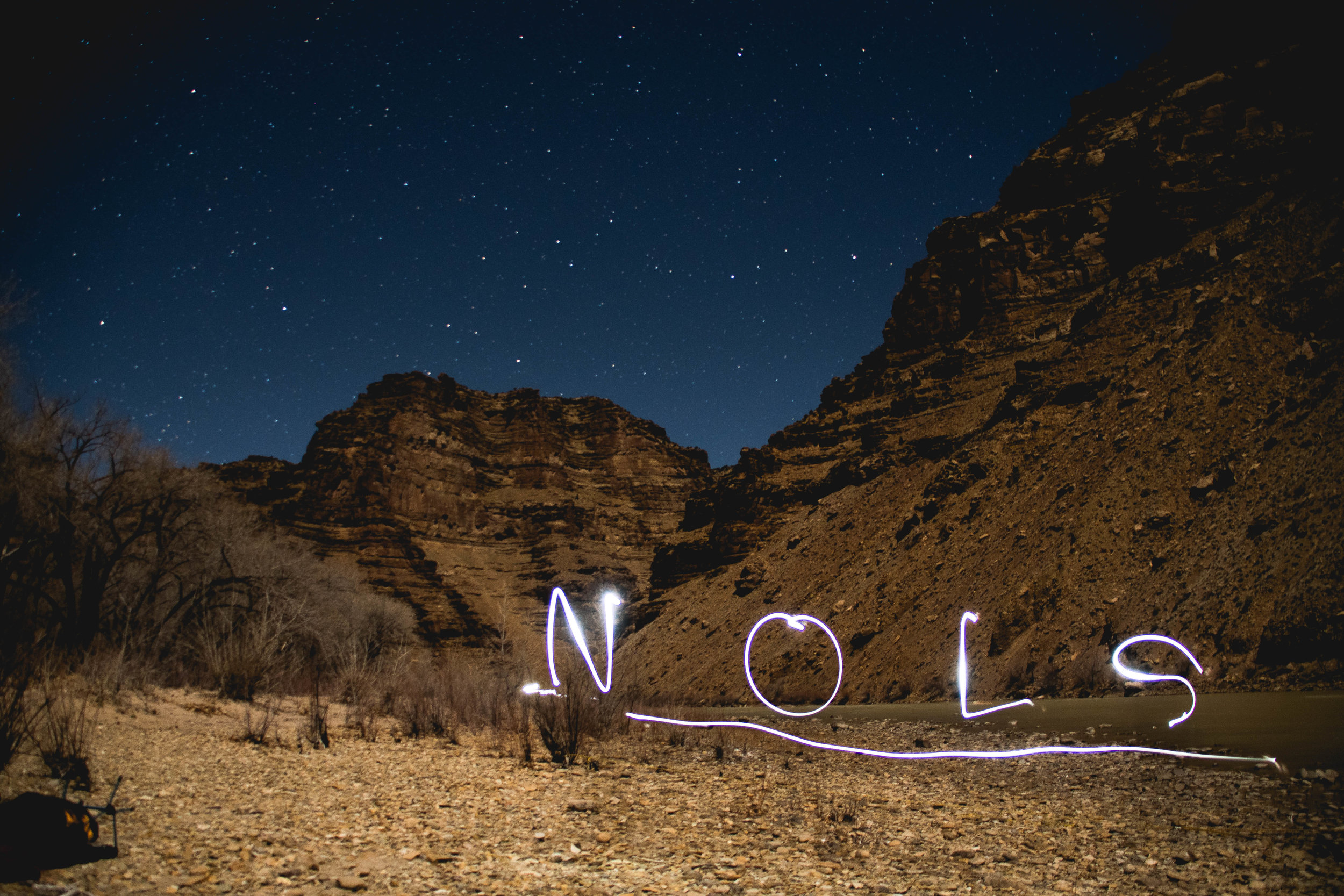 Night time light painting on the Green River.