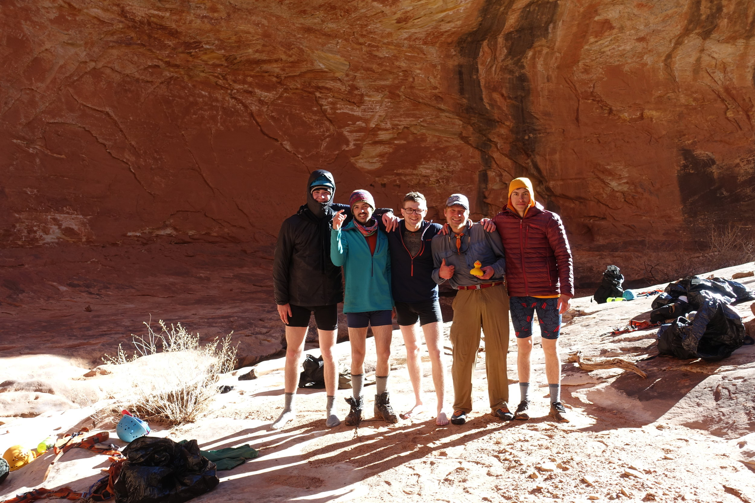 Nick, Daniel, Me, James, & Joey posing in our skivvies after 2 very cold swims in the slot canyon.