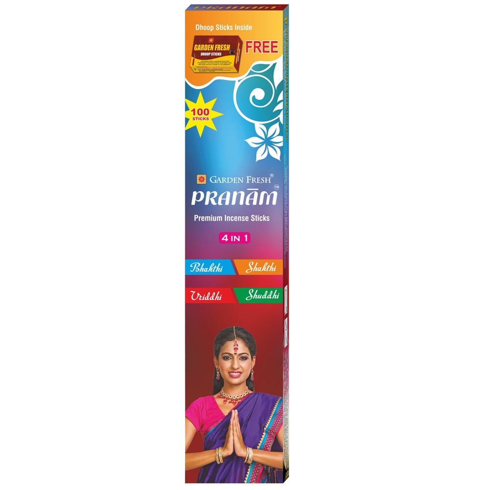 PRANAM 4 in 1   4 mesmerising fragrances that will bring divinity, strength, growth and purity into your life.   Net contents: 100 sticks (4 fragrances x 25 sticks)