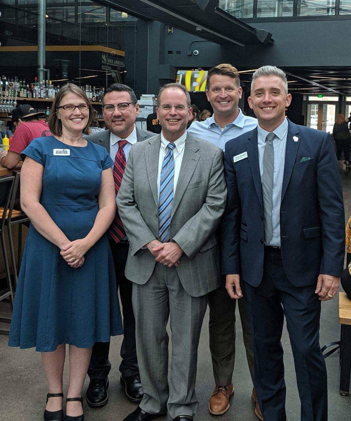 Rebecca Kiefer, Israel Ramon, Judge William Pocan, Brett Blomme, and Pete Burgelis all stopped in and mingled with LGBT Bar Members at our August Happy Hour.